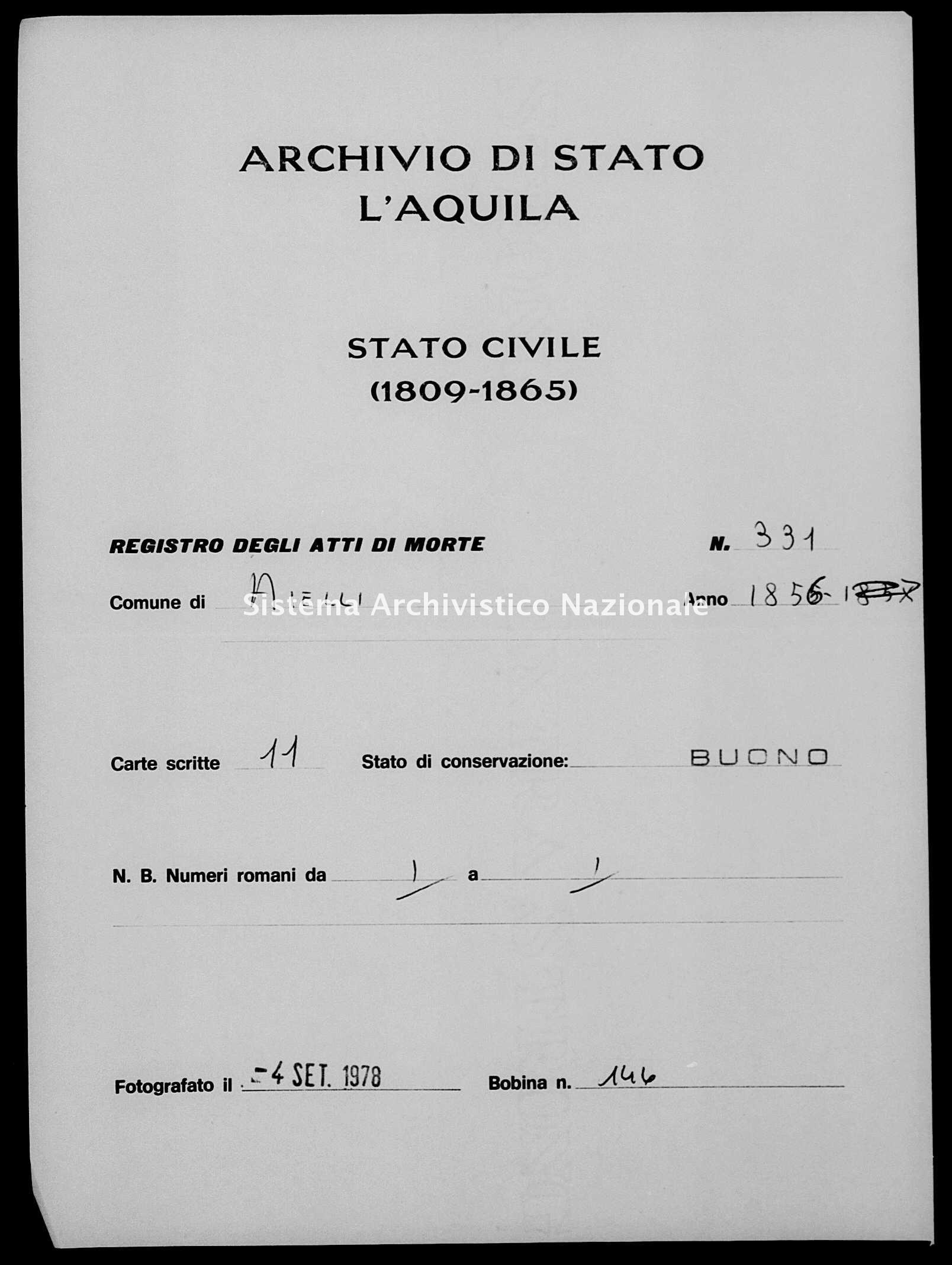 Archivio di stato di L'aquila - Stato civile della restaurazione - Aielli - Morti - 1856 - 331 -