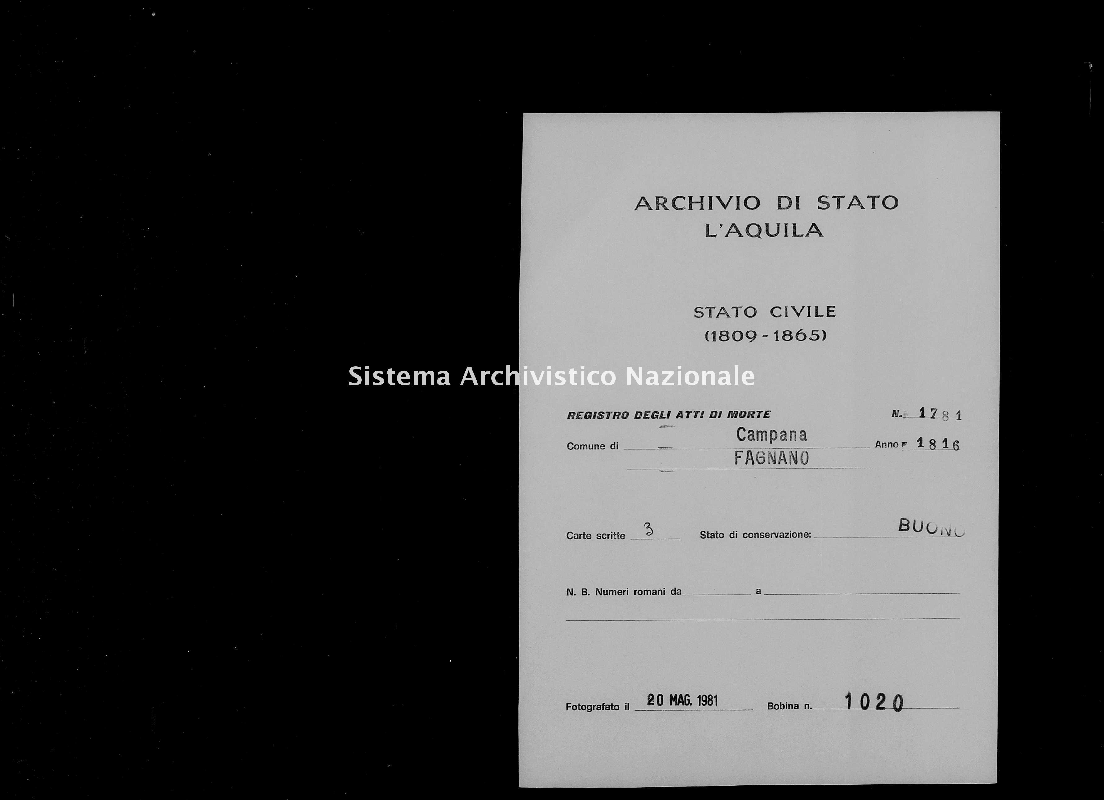 Archivio di stato di L'aquila - Stato civile della restaurazione - Campana - Morti - 1816 - 1781 -
