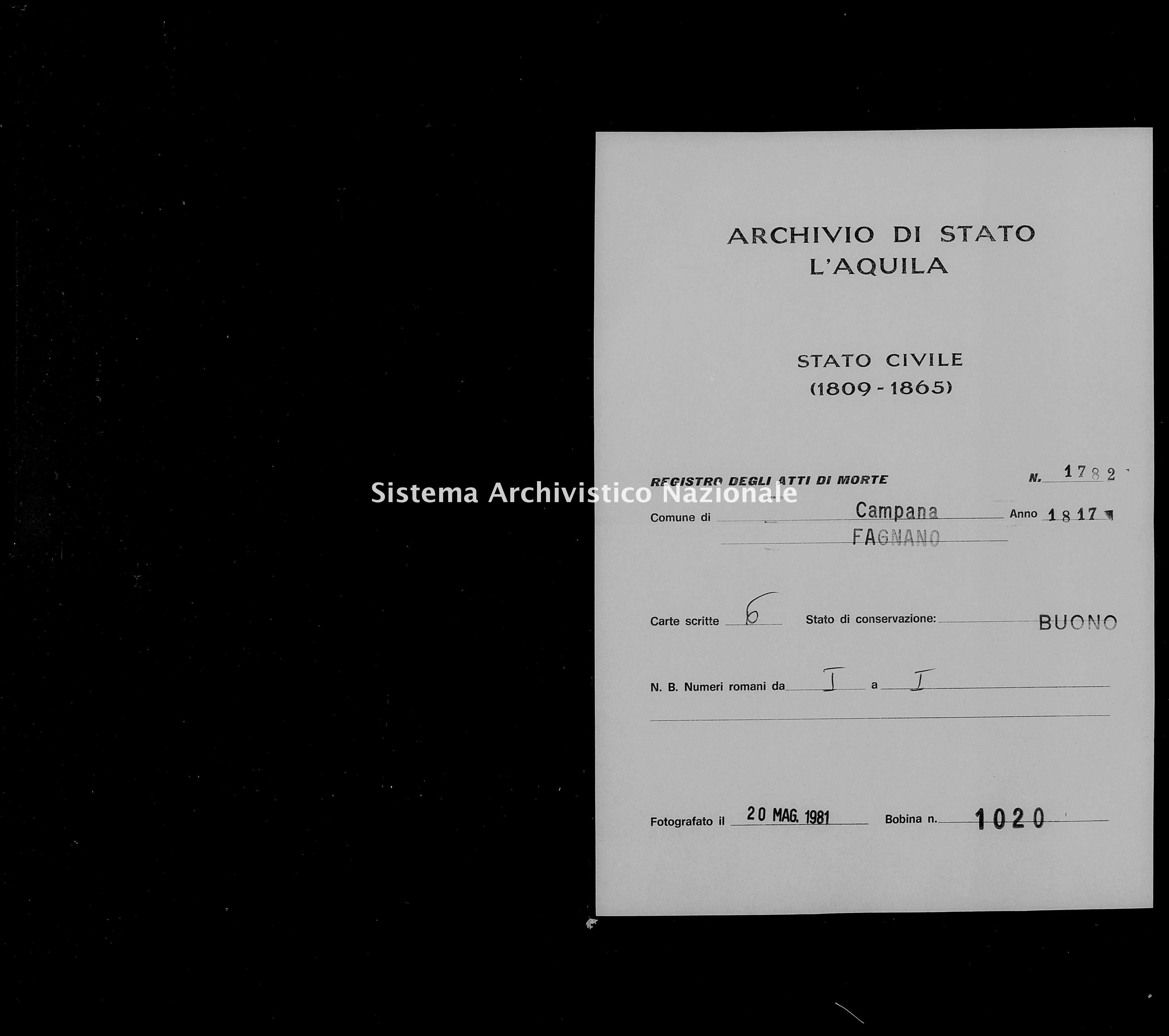 Archivio di stato di L'aquila - Stato civile della restaurazione - Campana - Morti - 1817 - 1782 -