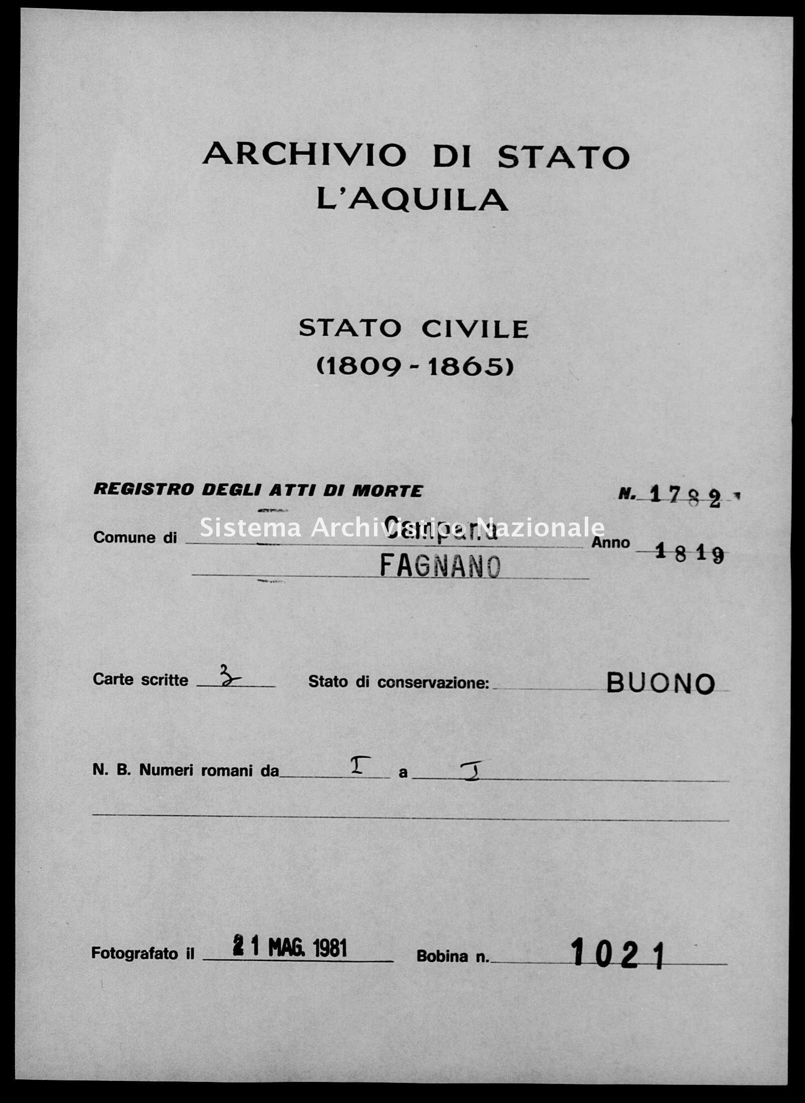 Archivio di stato di L'aquila - Stato civile della restaurazione - Campana - Morti - 1819 - 1782 -