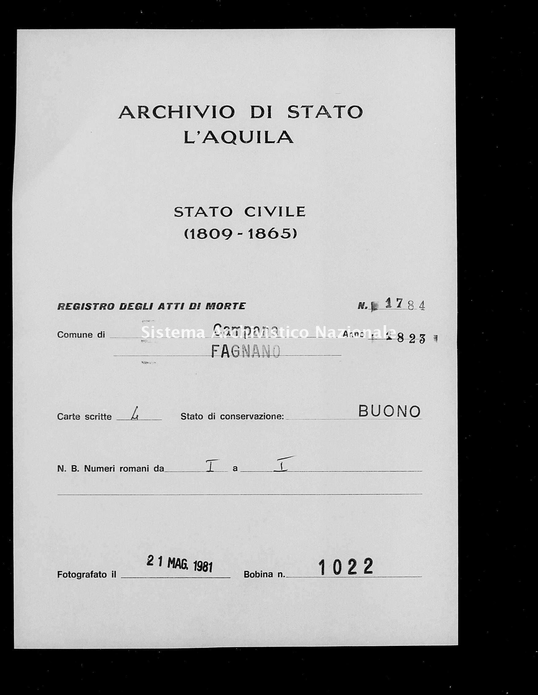 Archivio di stato di L'aquila - Stato civile della restaurazione - Campana - Morti - 1823 - 1784 -