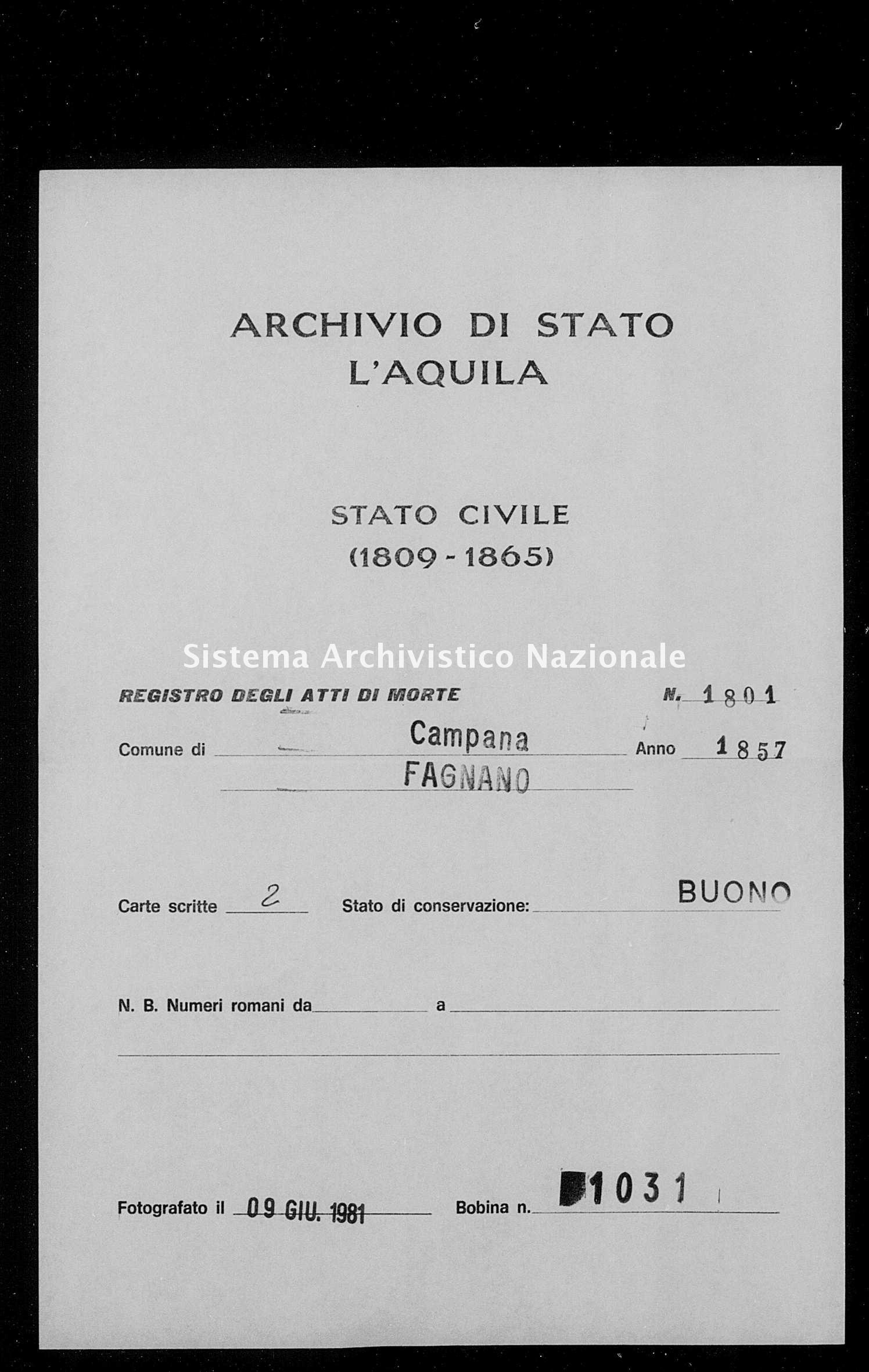 Archivio di stato di L'aquila - Stato civile della restaurazione - Campana - Morti - 1857 - 1801 -