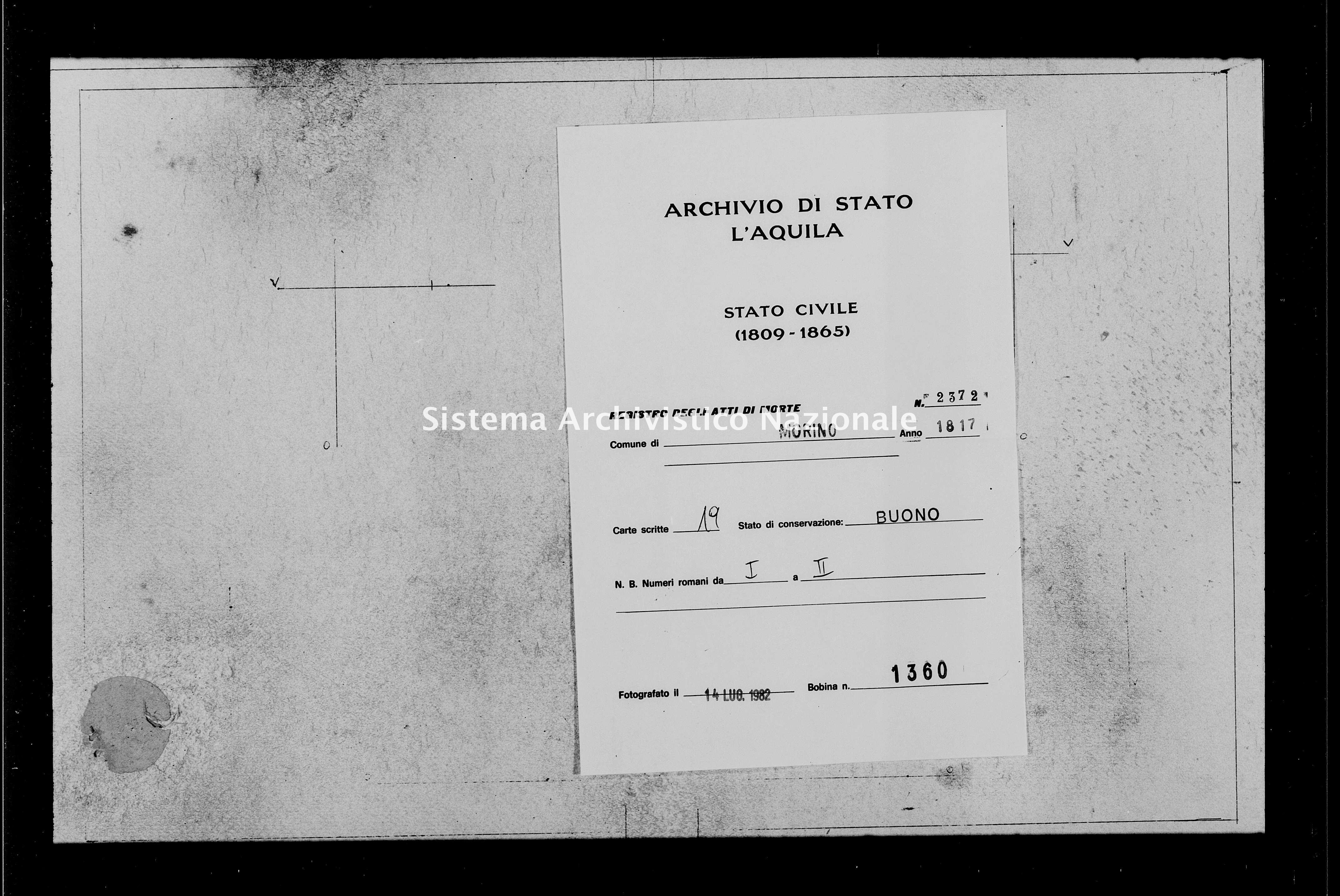 Archivio di stato di L'aquila - Stato civile della restaurazione - Morino - Morti - 1817 - 2372 -