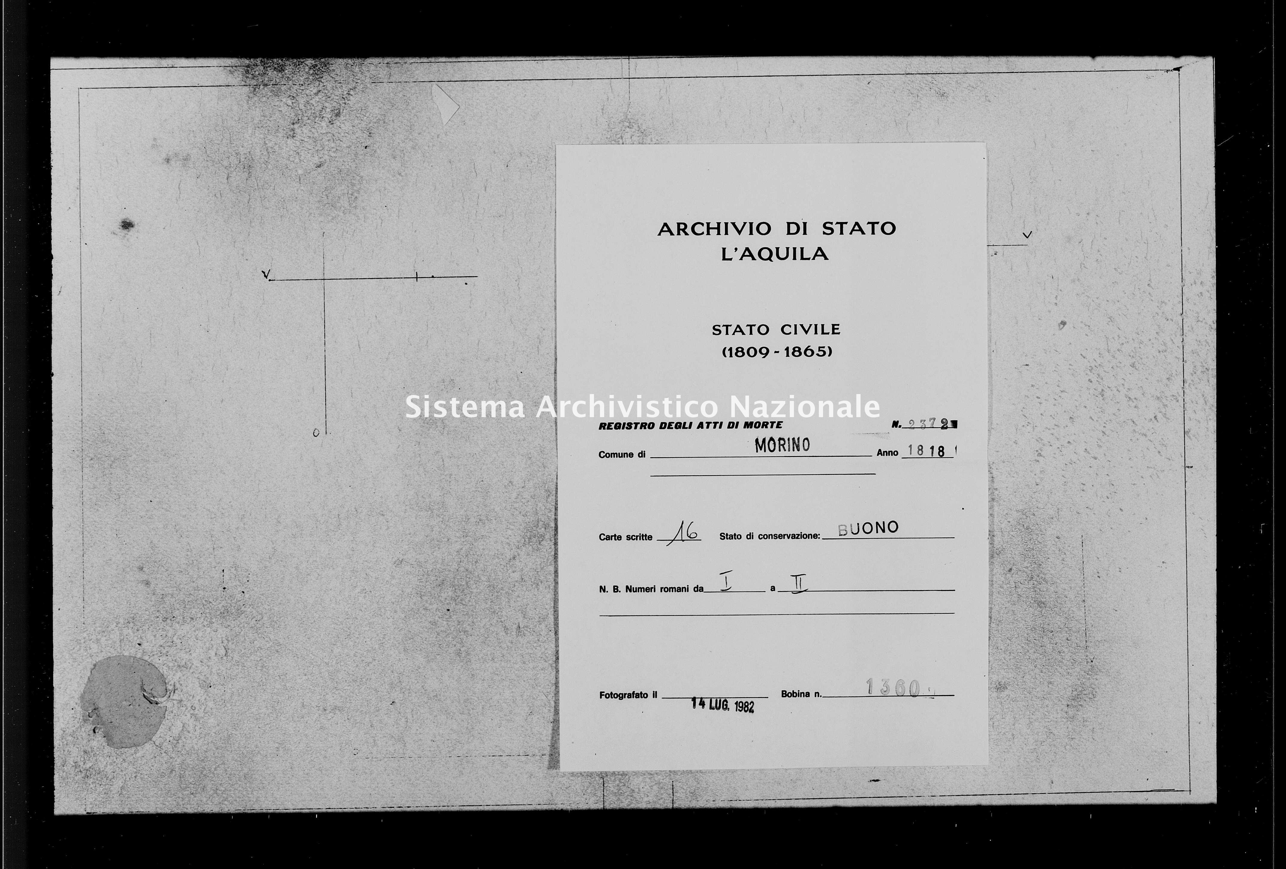 Archivio di stato di L'aquila - Stato civile della restaurazione - Morino - Morti - 1818 - 2372 -