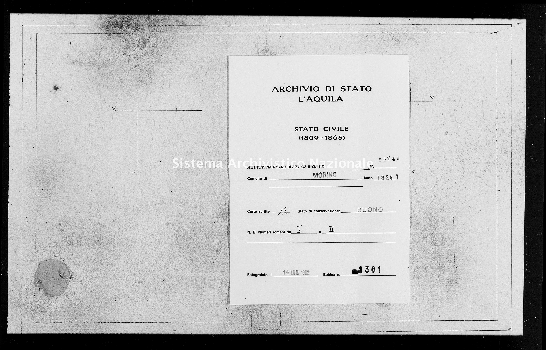 Archivio di stato di L'aquila - Stato civile della restaurazione - Morino - Morti - 1824 - 2374 -