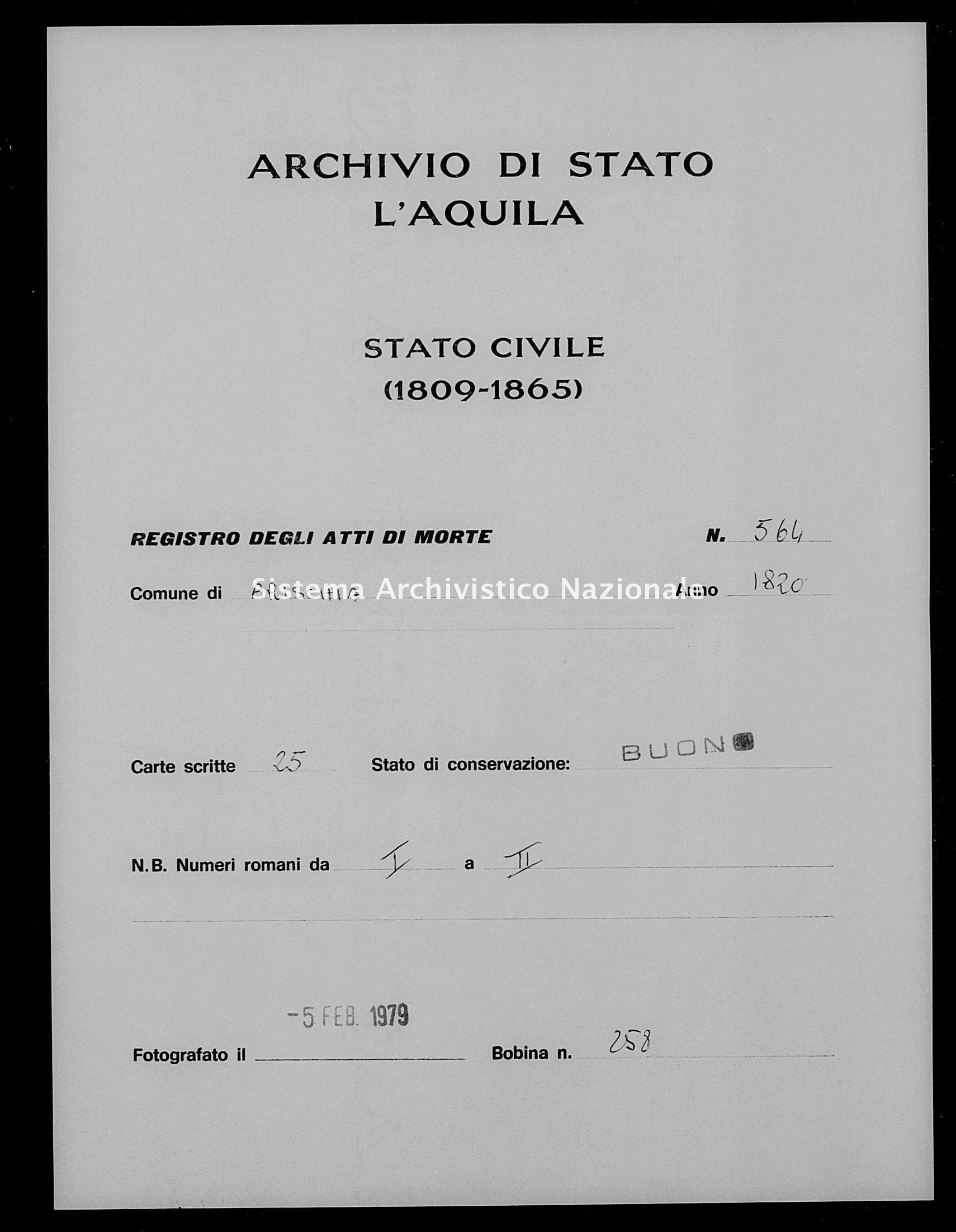 Archivio di stato di L'aquila - Stato civile della restaurazione - Arischia - Morti - 1820 - 564 -