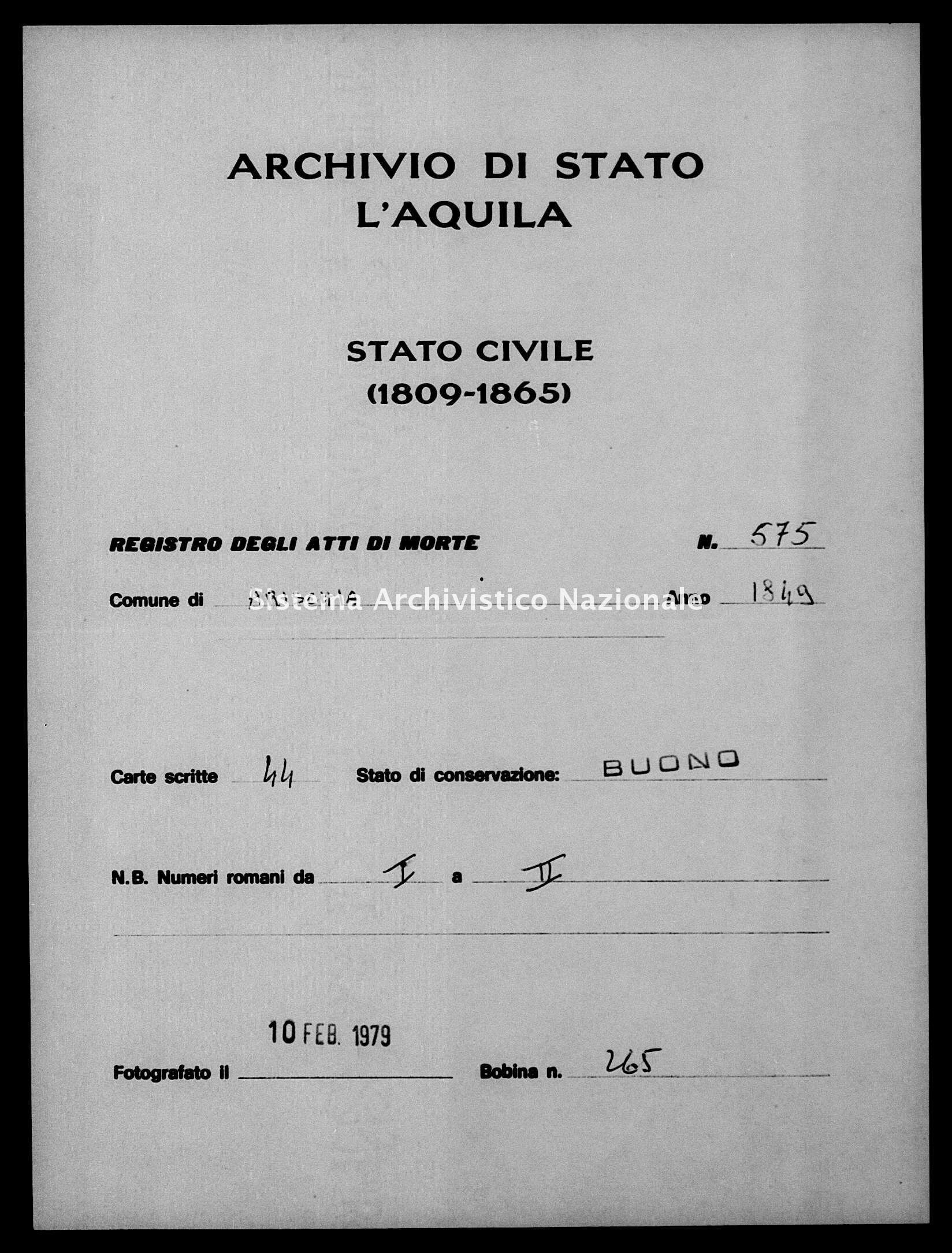 Archivio di stato di L'aquila - Stato civile della restaurazione - Arischia - Morti - 15/01/1849-28/11/1849 - 575 -