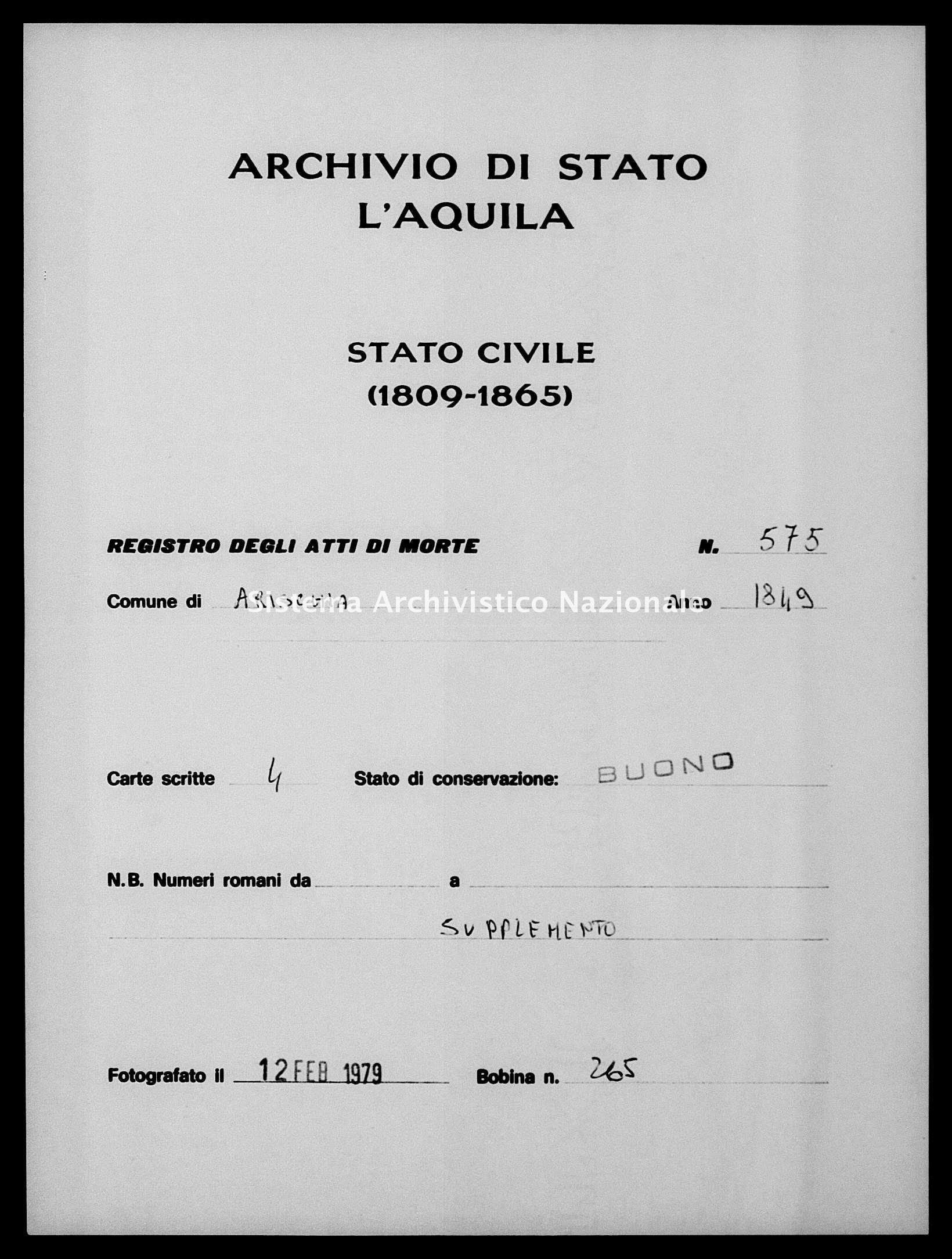 Archivio di stato di L'aquila - Stato civile della restaurazione - Arischia - Morti - 01/12/1849-15/12/1849 - 575 -
