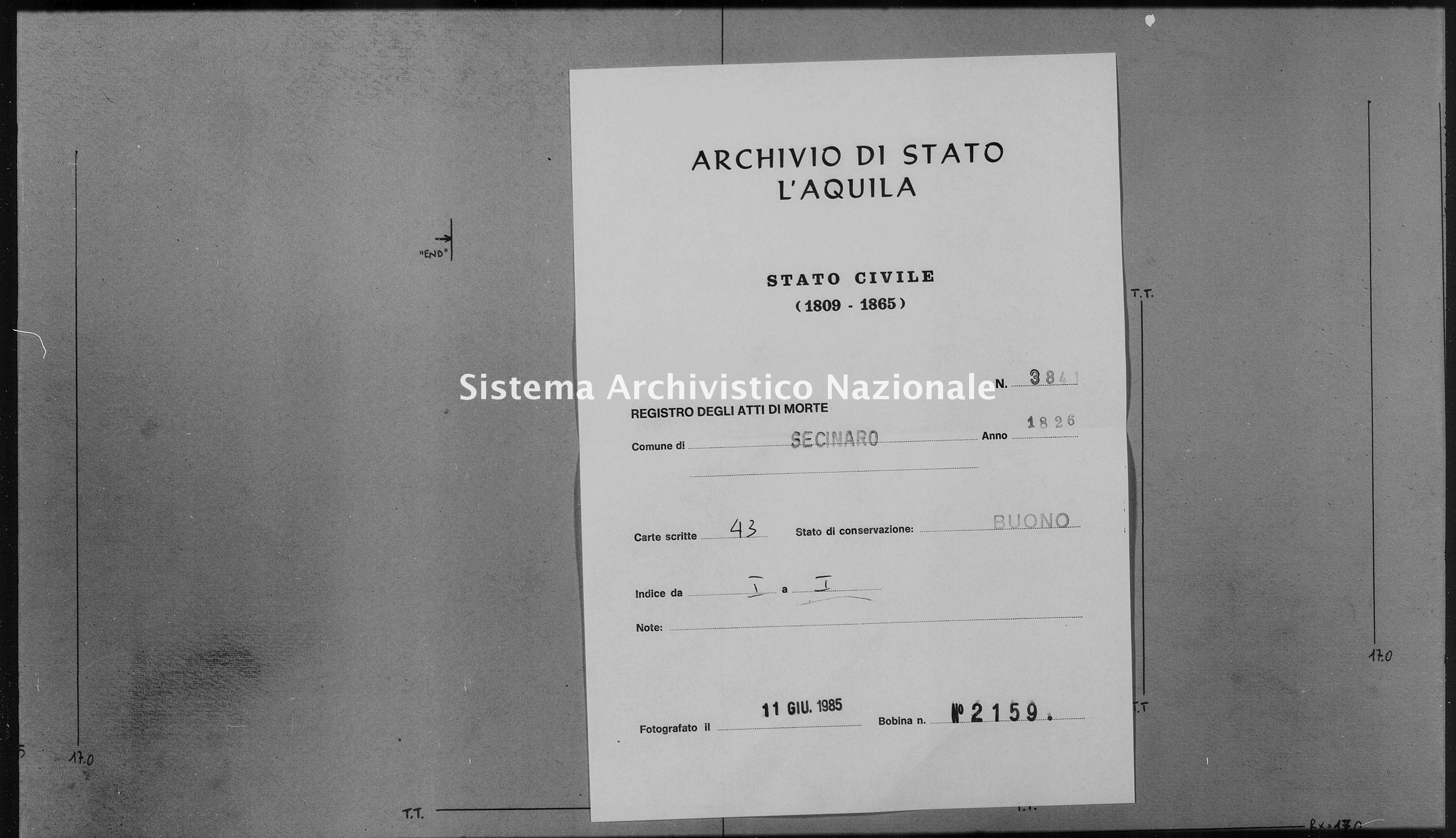 Archivio di stato di L'aquila - Stato civile della restaurazione - Secinaro - Morti - 1826 - 3841 -