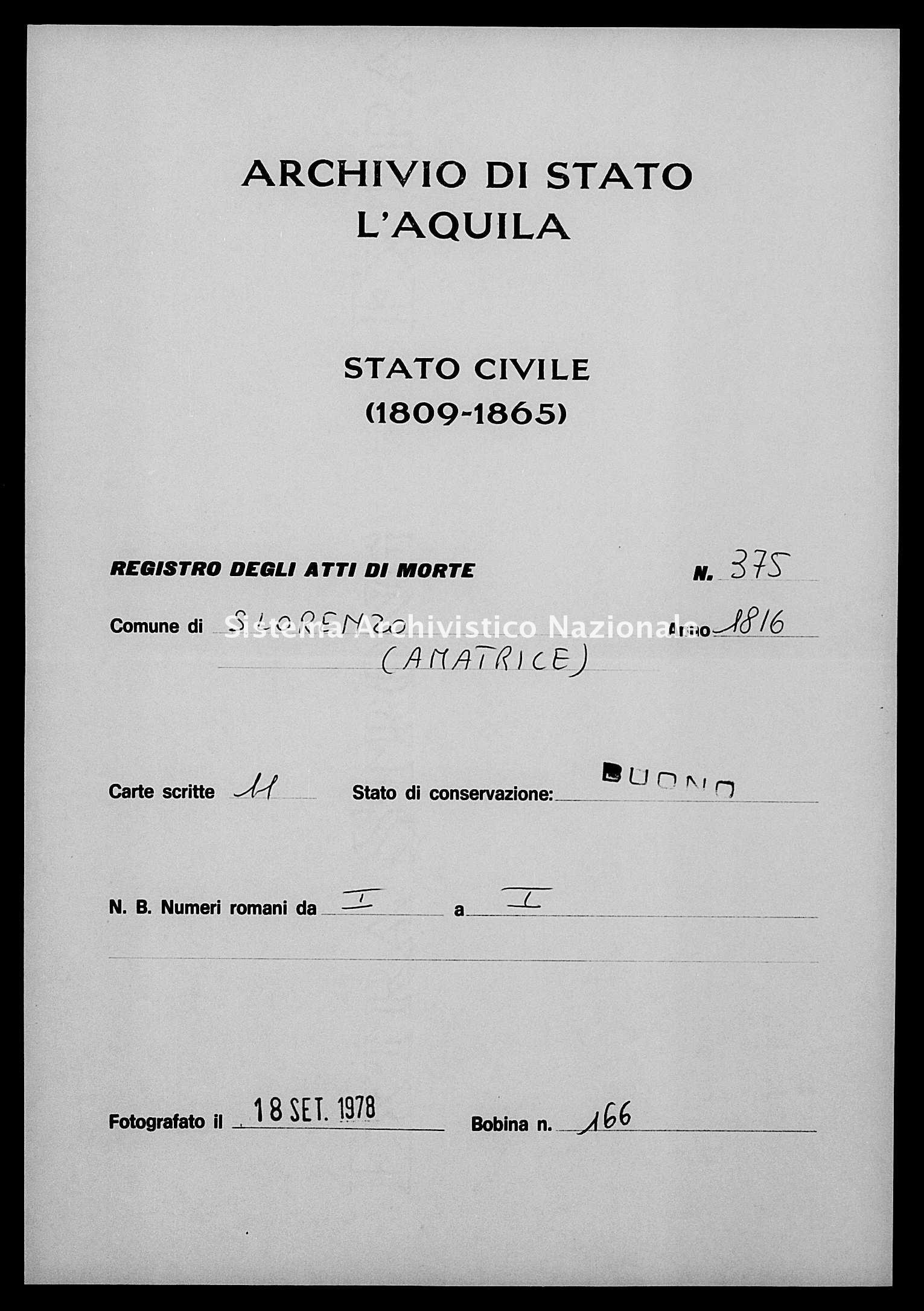Archivio di stato di L'aquila - Stato civile della restaurazione - San Lorenzo - Morti - 1816 - 375 -