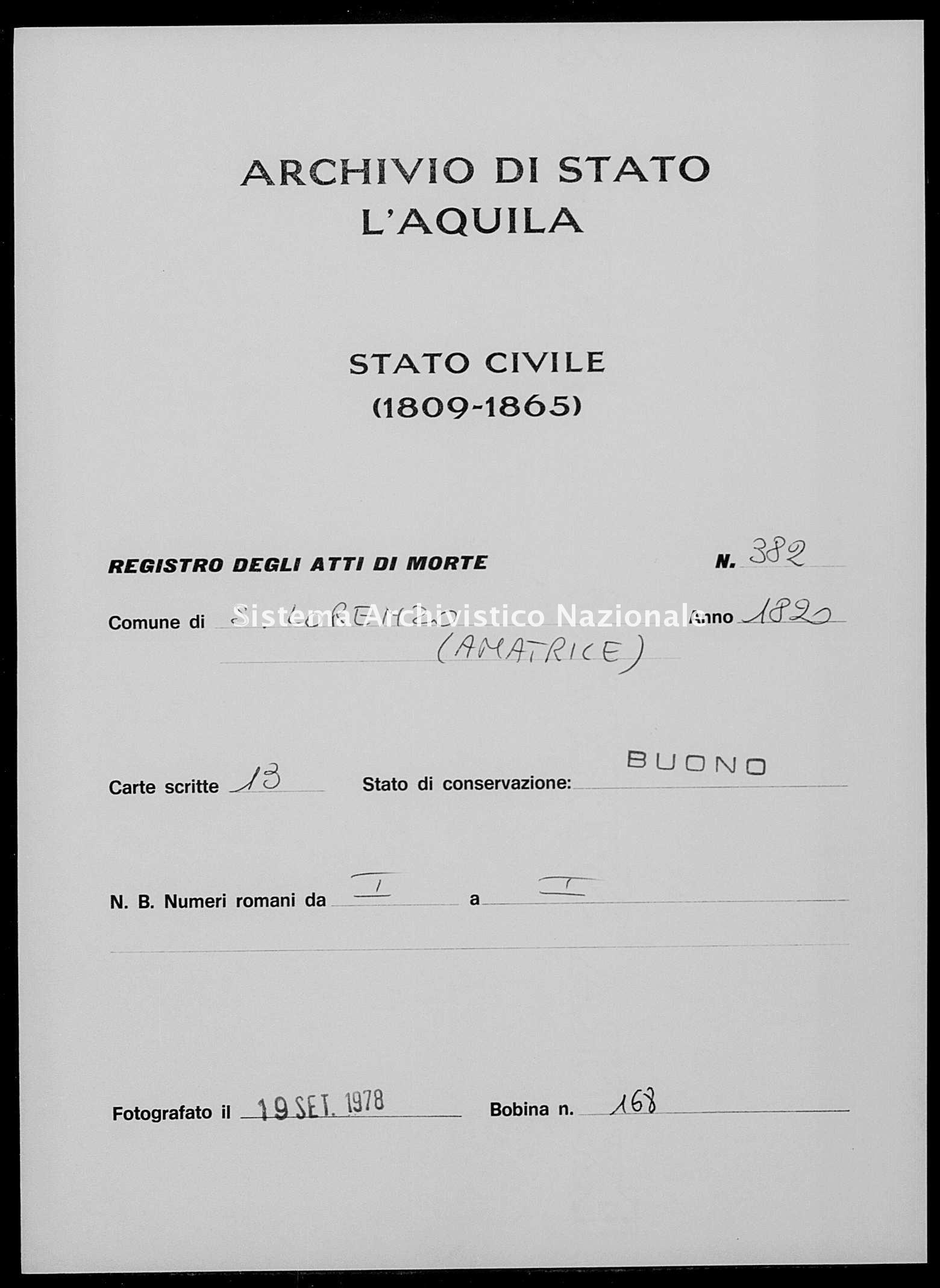 Archivio di stato di L'aquila - Stato civile della restaurazione - San Lorenzo - Morti - 1820 - 382 -