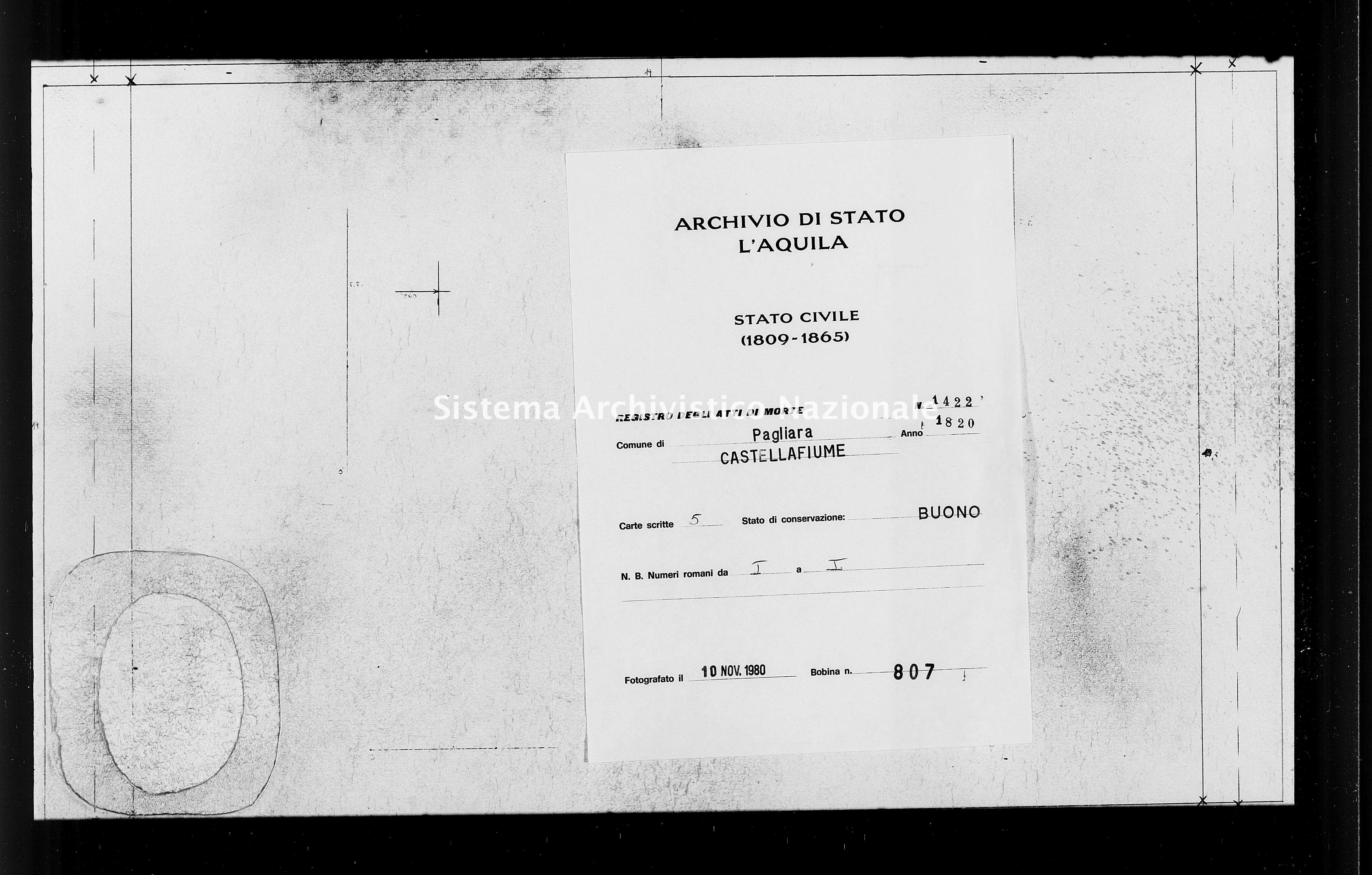Archivio di stato di L'aquila - Stato civile della restaurazione - Pagliara - Morti - 1820 - 1422 -