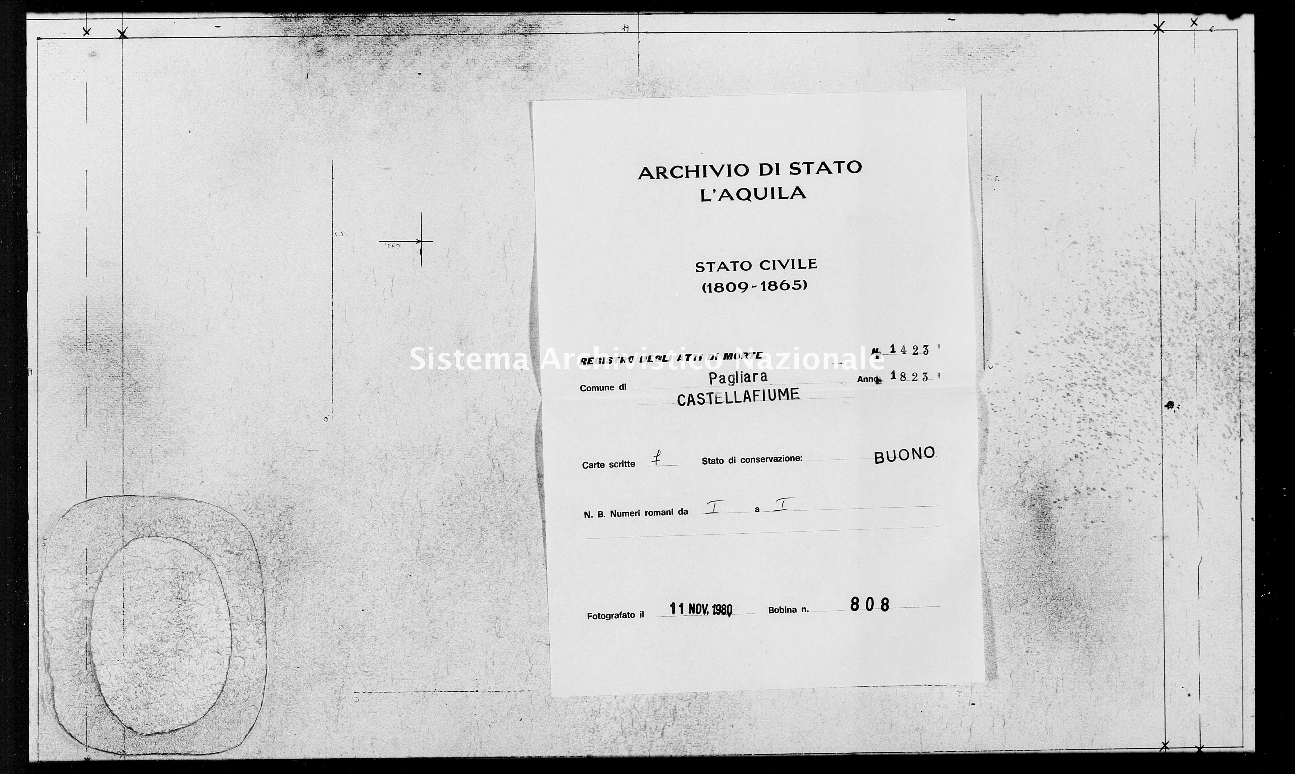 Archivio di stato di L'aquila - Stato civile della restaurazione - Pagliara - Morti - 1823 - 1423 -