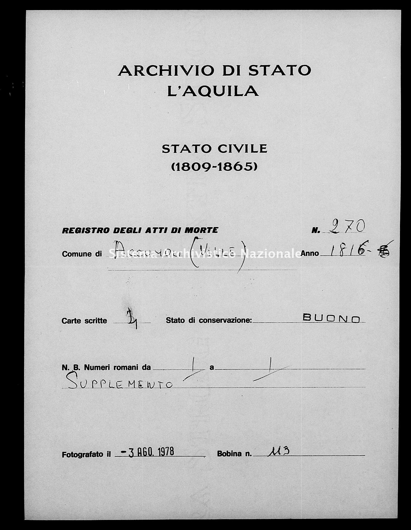 Archivio di stato di L'aquila - Stato civile della restaurazione - Accumoli - Morti - 06/01/1816-11/09/1816 - 270 -