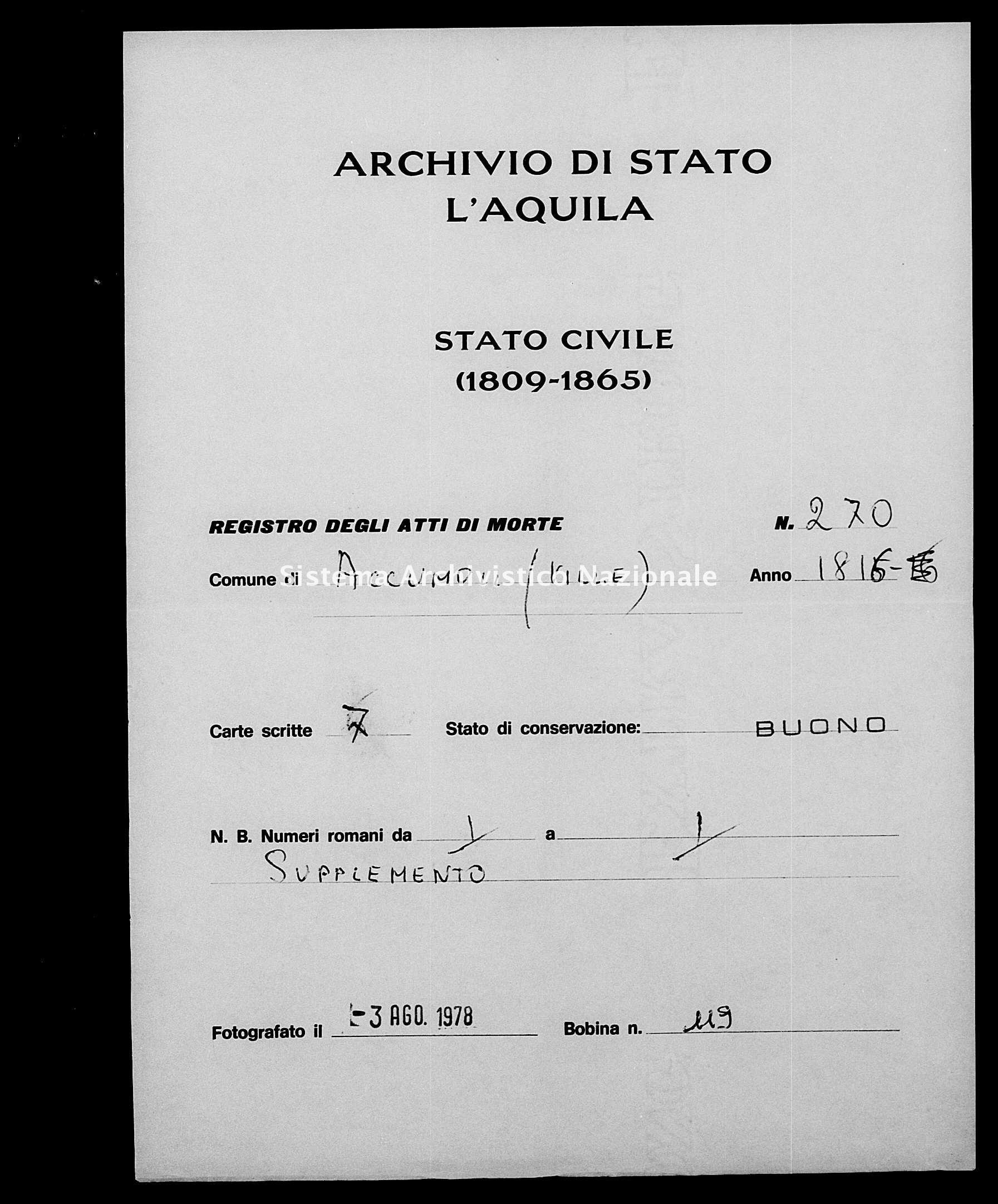 Archivio di stato di L'aquila - Stato civile della restaurazione - Accumoli - Morti - 06/01/1816-27/10/1816 - 270 -