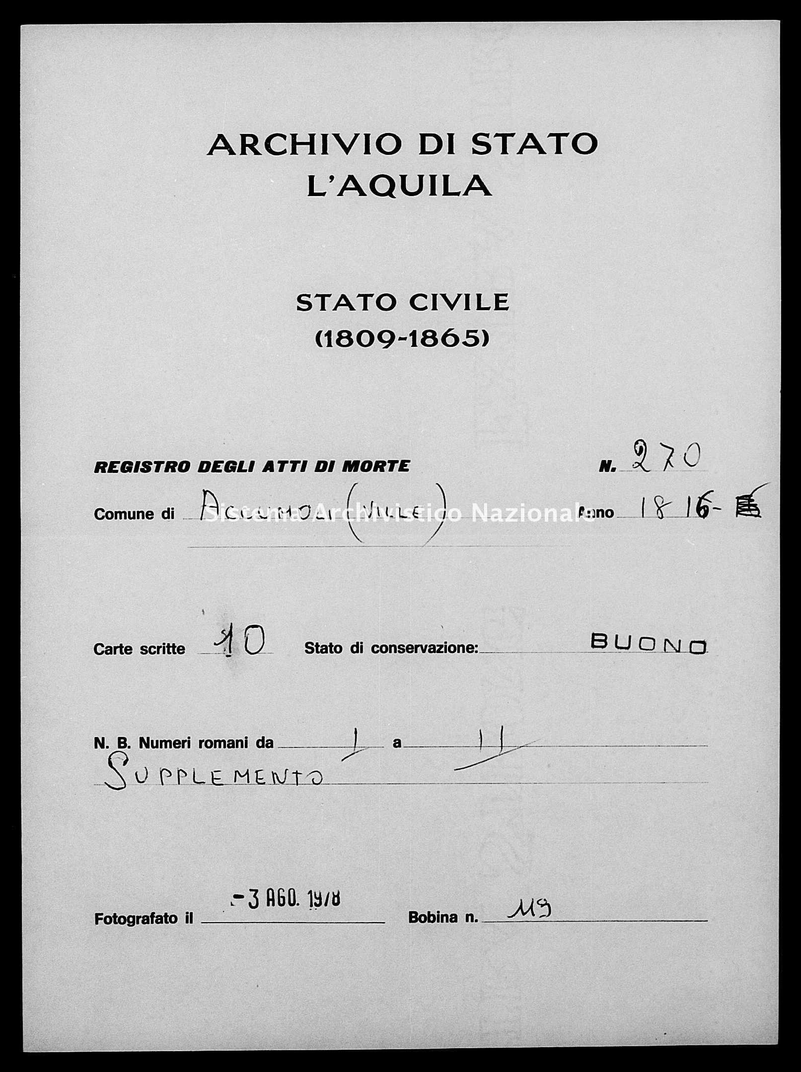 Archivio di stato di L'aquila - Stato civile della restaurazione - Accumoli - Morti - 09/01/1816-28/06/1816 - 270 -