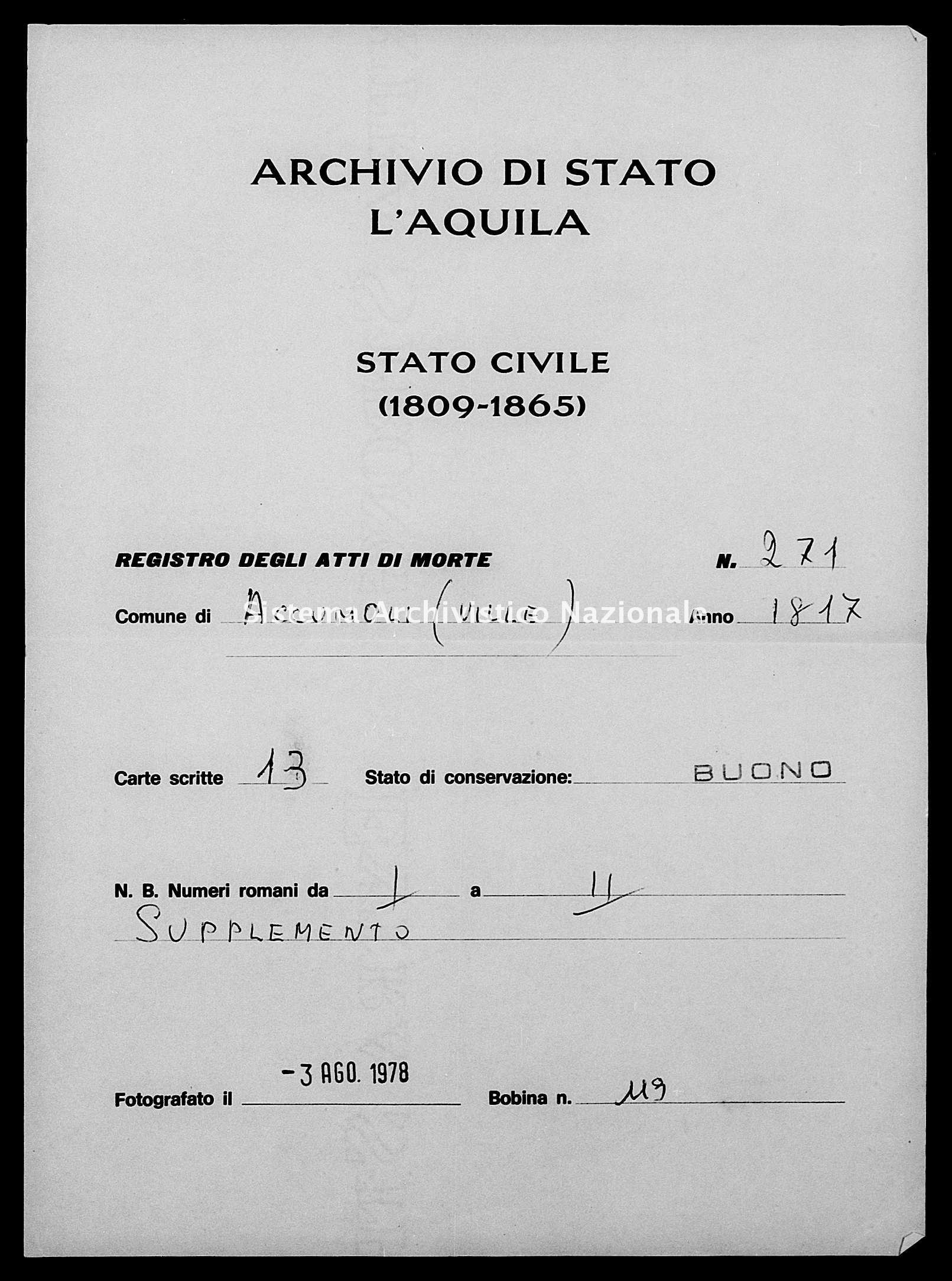 Archivio di stato di L'aquila - Stato civile della restaurazione - Accumoli - Morti - 04/01/1817-08/12/1817 - 271 -