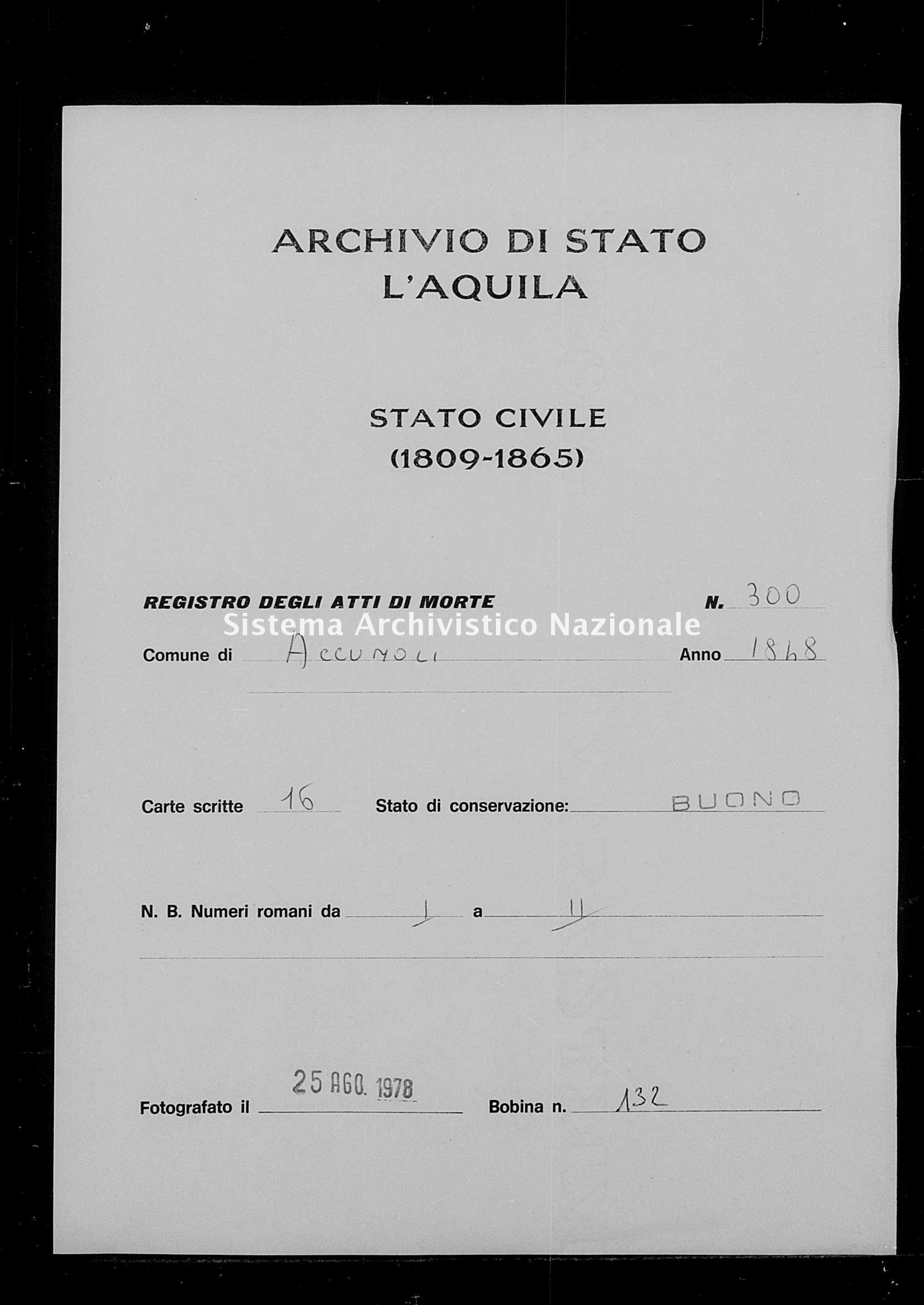 Archivio di stato di L'aquila - Stato civile della restaurazione - Accumoli - Morti - 1848 - 300 -