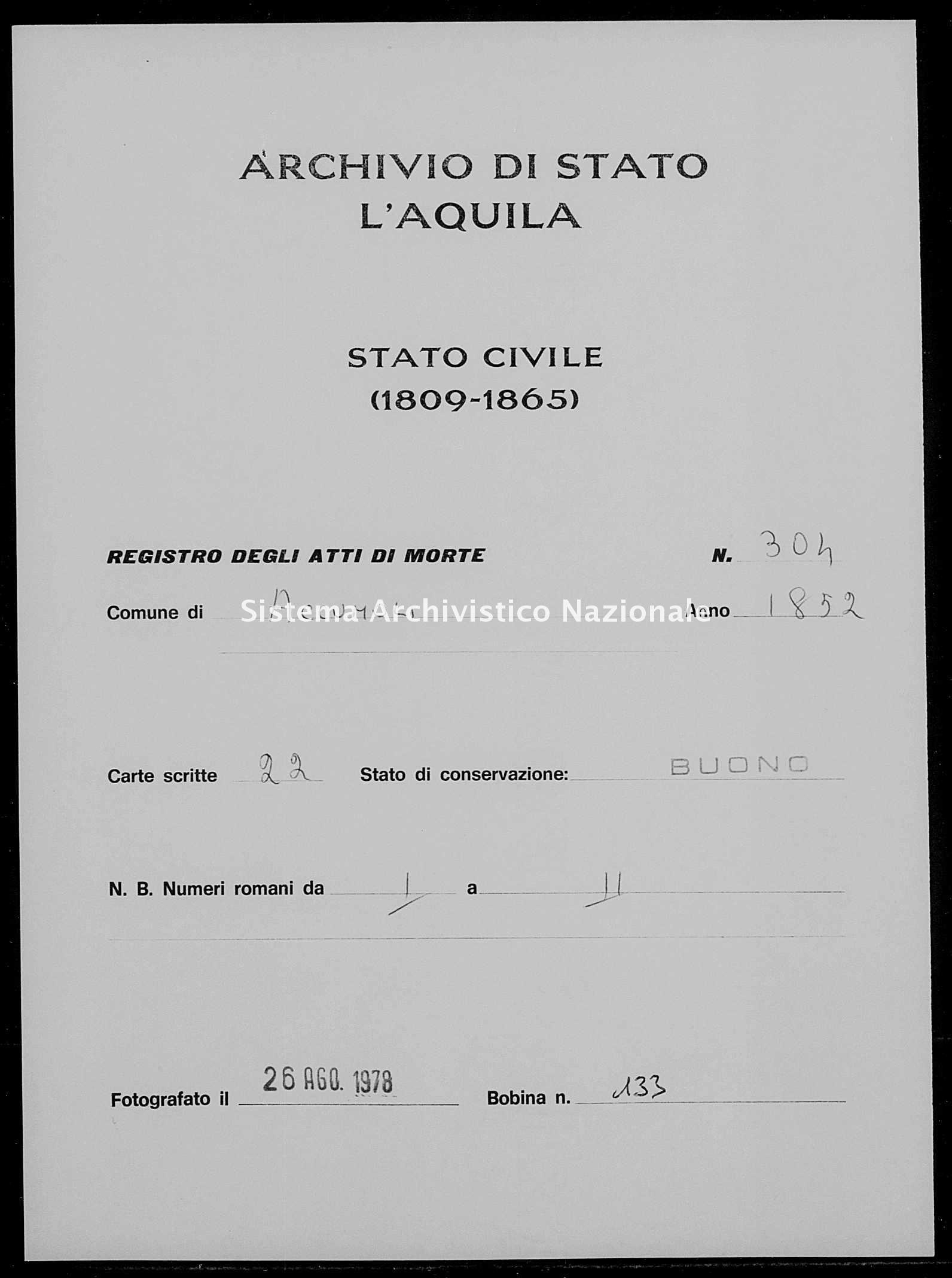 Archivio di stato di L'aquila - Stato civile della restaurazione - Accumoli - Morti - 1852 - 304 -