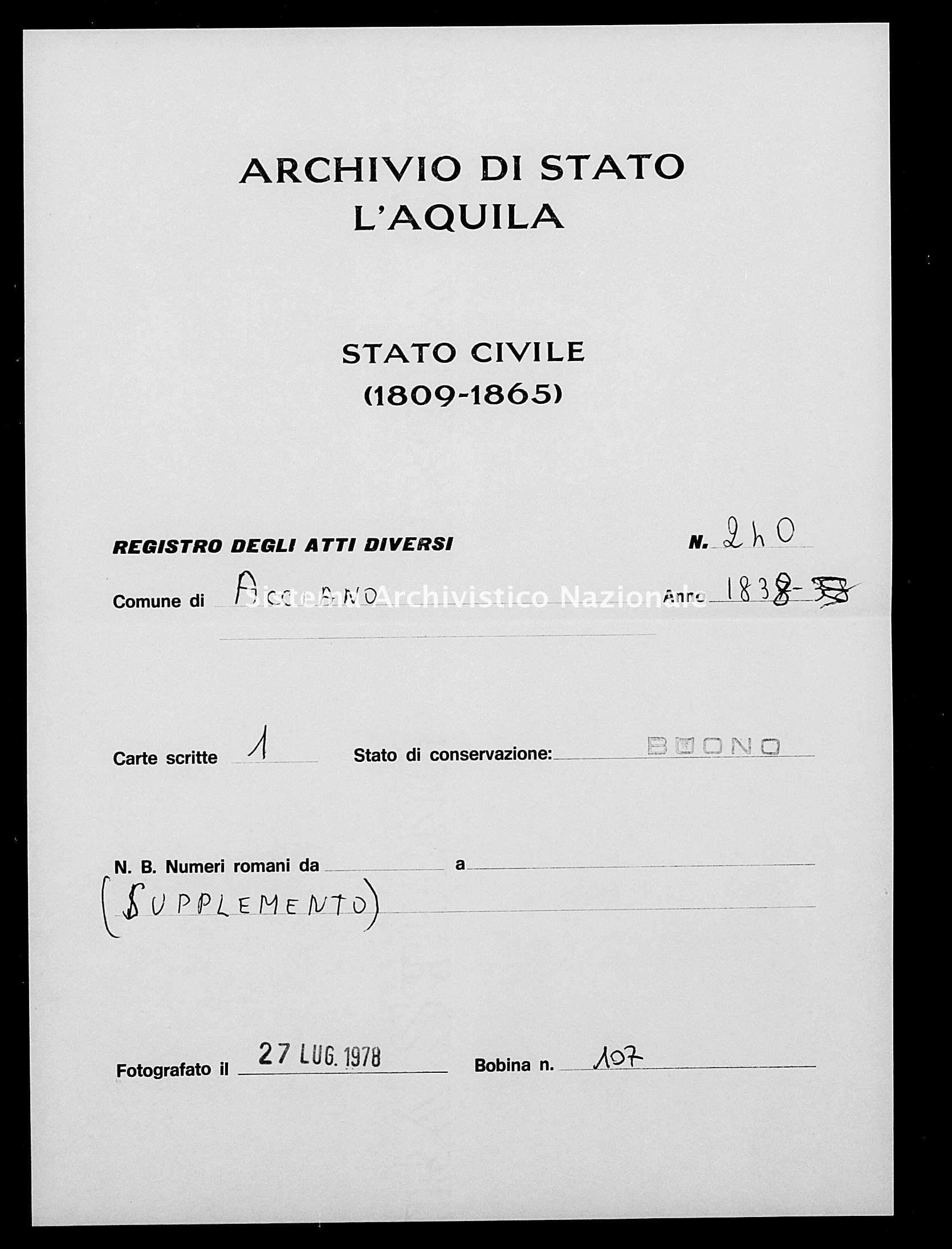 Archivio di stato di L'aquila - Stato civile della restaurazione - Acciano - Diversi - 1838 - 240 -