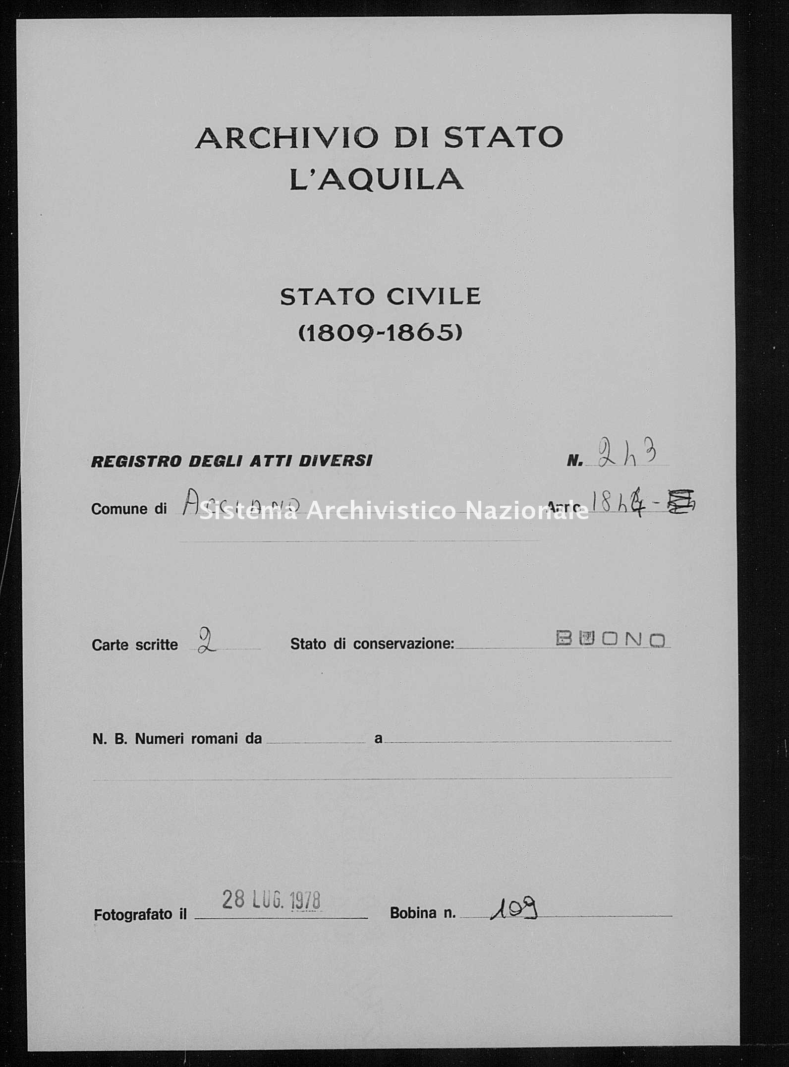 Archivio di stato di L'aquila - Stato civile della restaurazione - Acciano - Diversi - 1844 - 243 -
