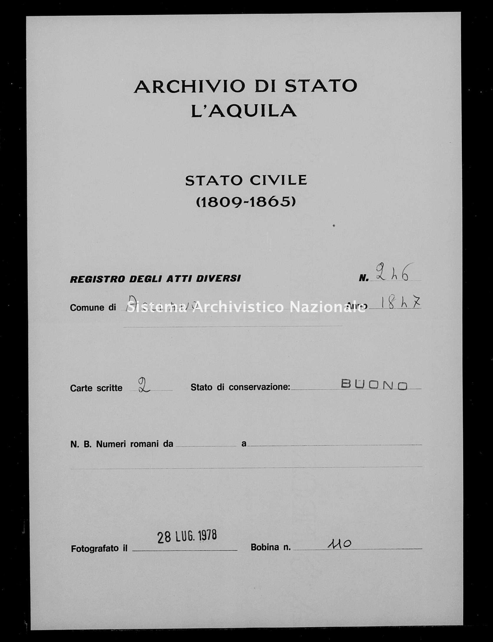 Archivio di stato di L'aquila - Stato civile della restaurazione - Acciano - Diversi - 1847 - 246 -
