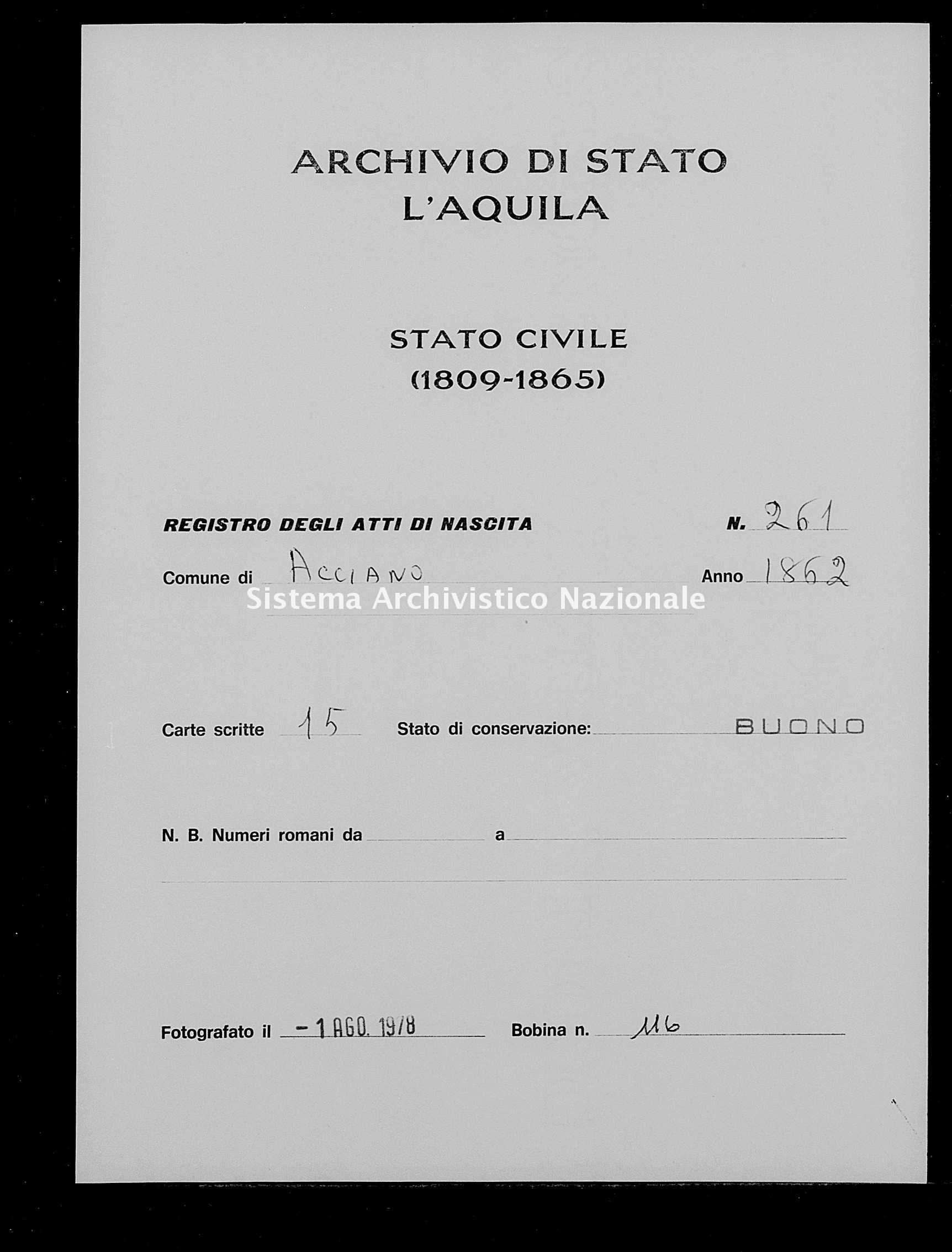 Archivio di stato di L'aquila - Stato civile italiano - Acciano - Nati - 1862 - 261 -