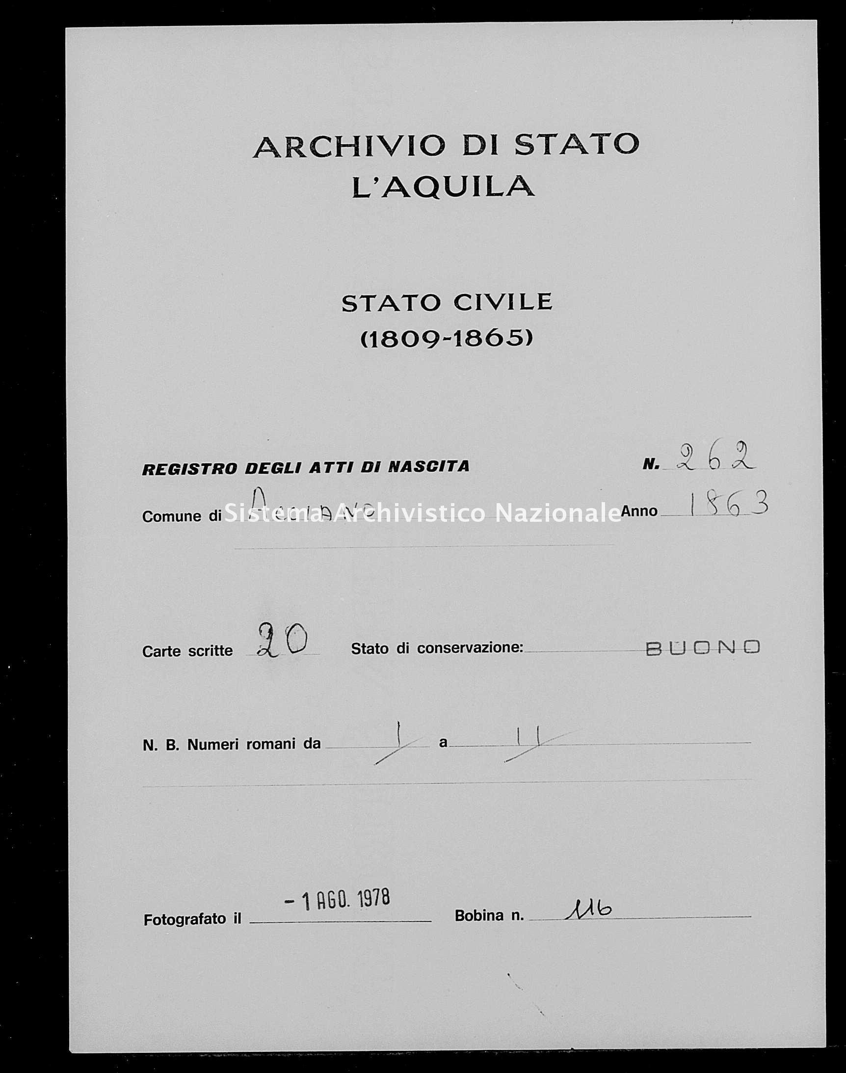 Archivio di stato di L'aquila - Stato civile italiano - Acciano - Nati - 1863 - 262 -