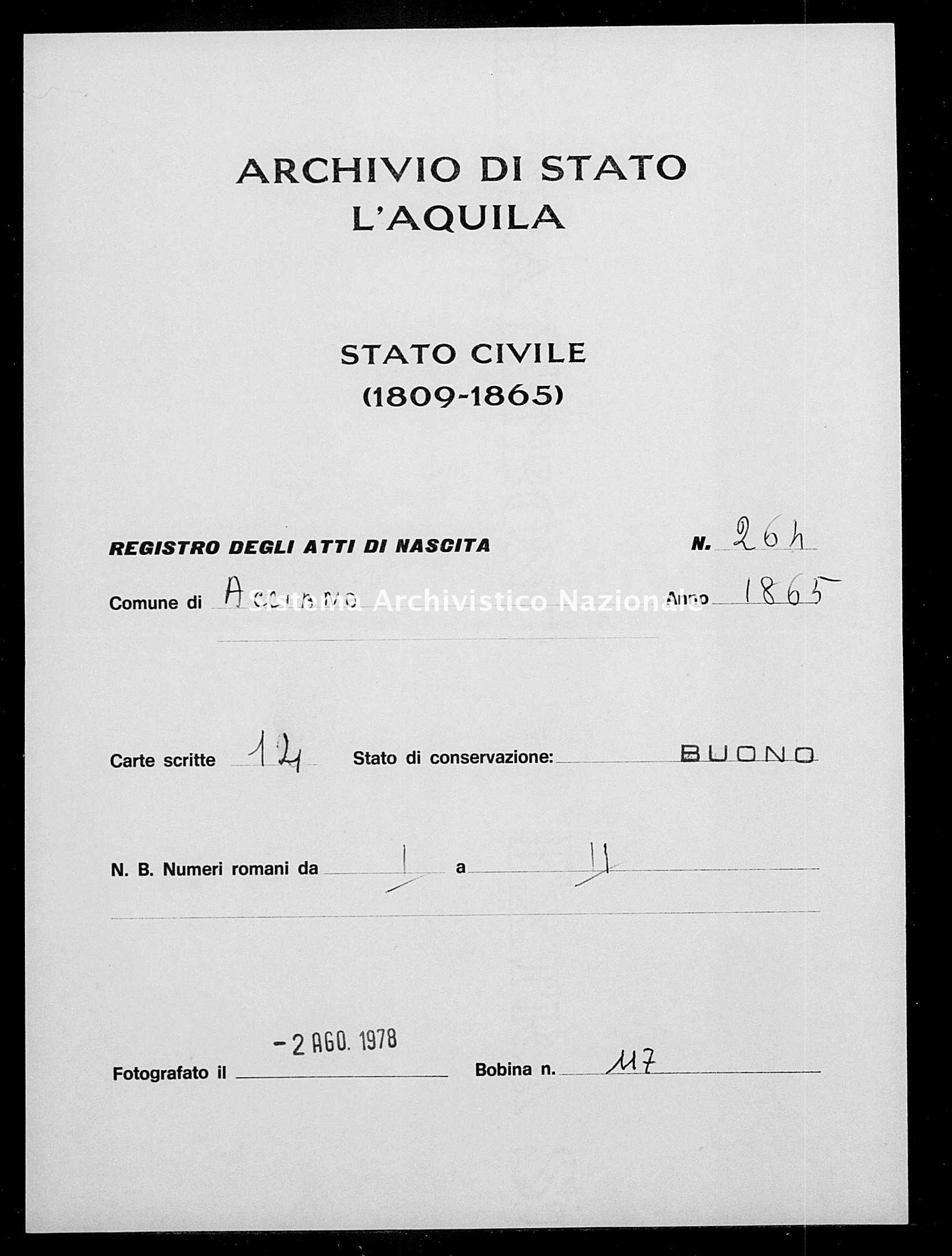 Archivio di stato di L'aquila - Stato civile italiano - Acciano - Nati - 1865 - 264 -