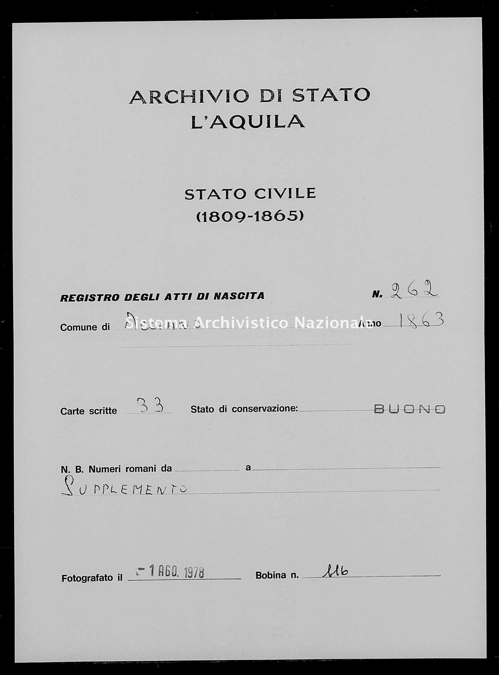 Archivio di stato di L'aquila - Stato civile italiano - Acciano - Nati, battesimi - 1863 - 262 -