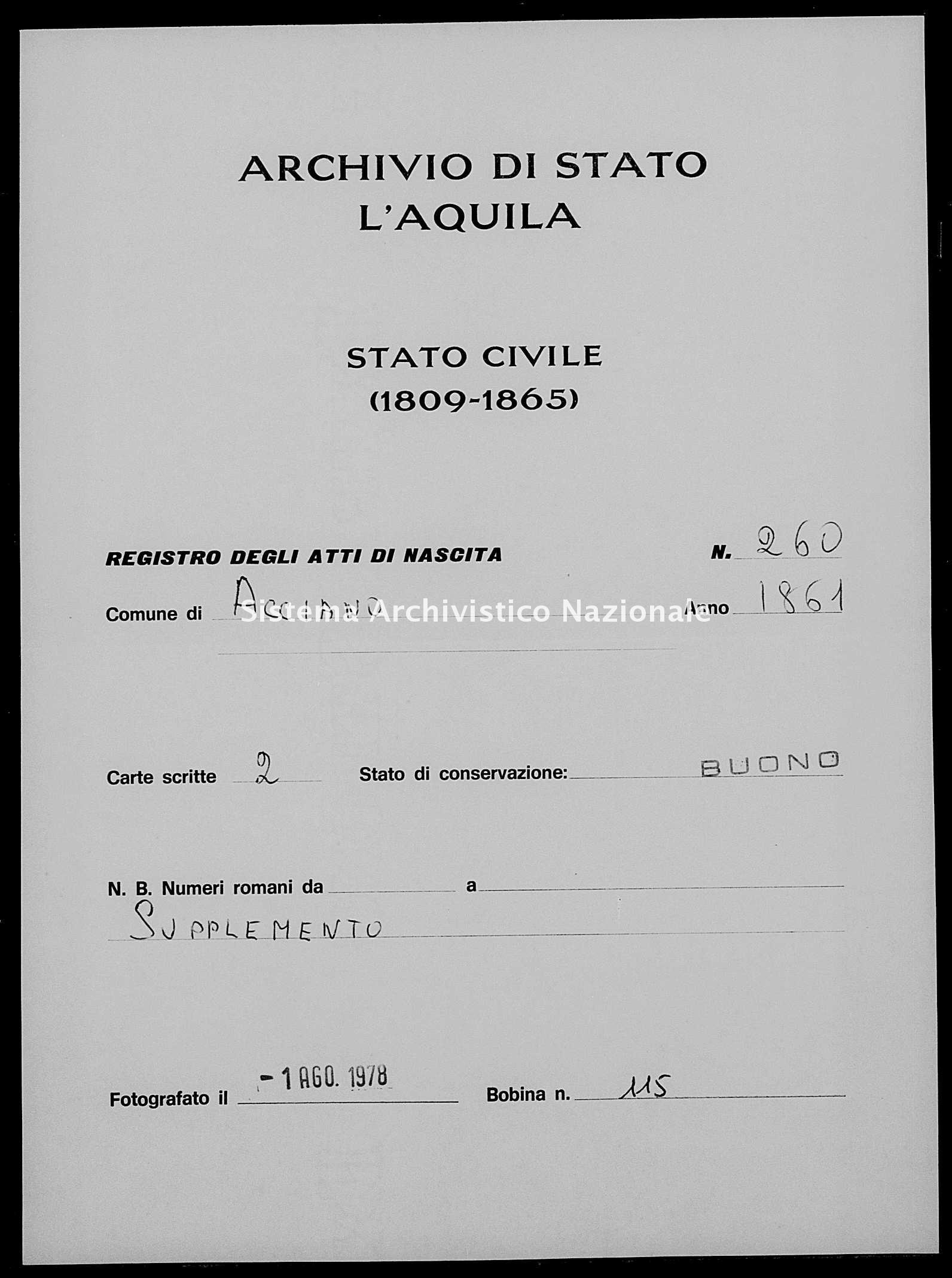 Archivio di stato di L'aquila - Stato civile italiano - Acciano - Nati, esposti - 1861 - 260 -