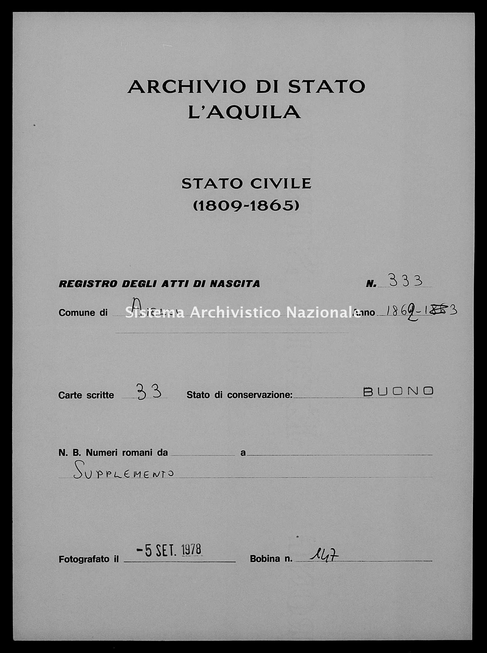 Archivio di stato di L'aquila - Stato civile italiano - Aielli - Nati, battesimi - 06/07/1862-31/12/1862 - 333 -