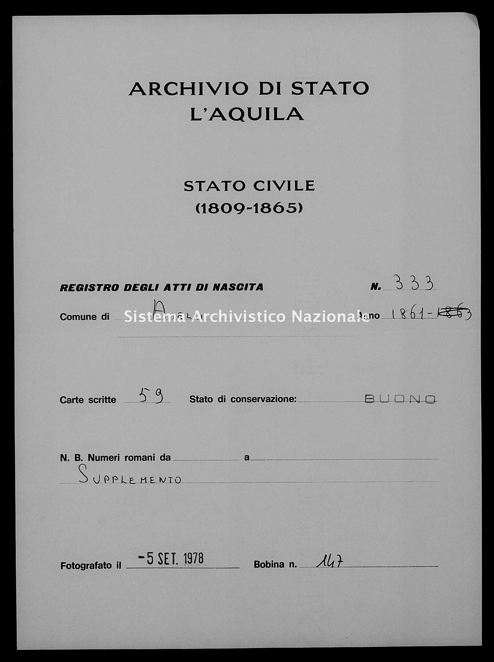 Archivio di stato di L'aquila - Stato civile italiano - Aielli - Nati, battesimi - 1861 - 333 -