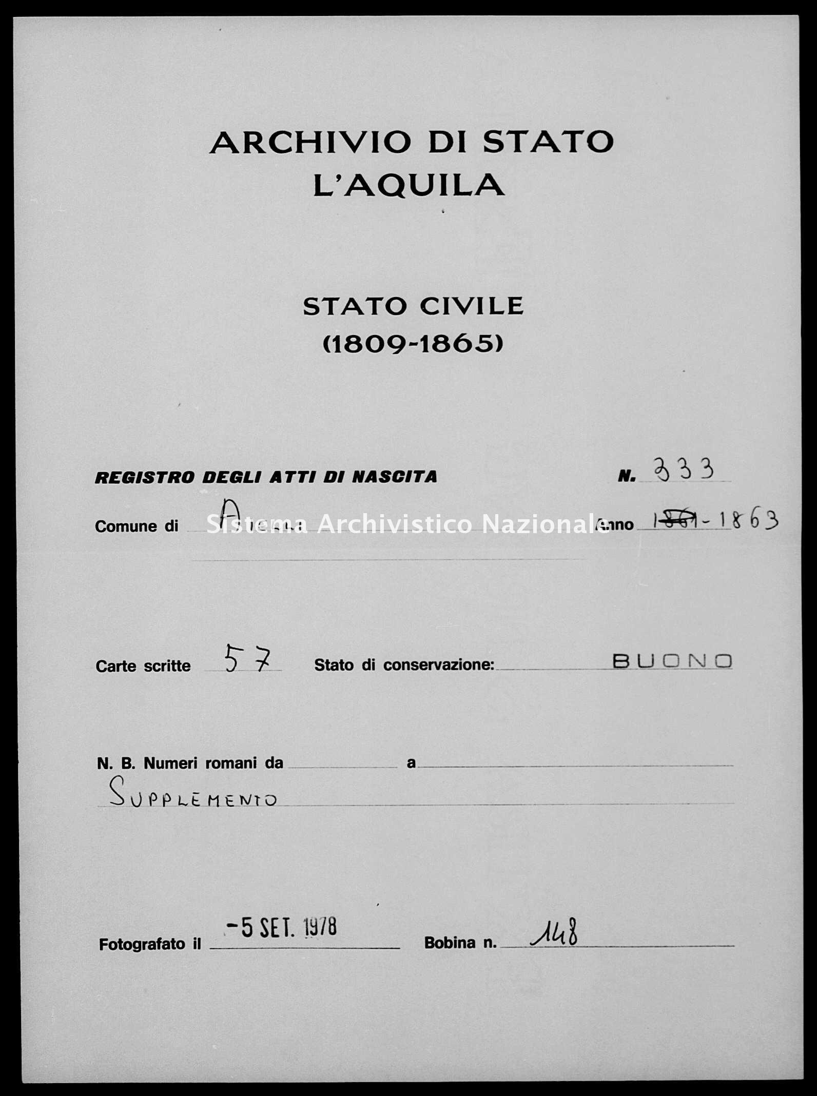 Archivio di stato di L'aquila - Stato civile italiano - Aielli - Nati, battesimi - 1863 - 333 -