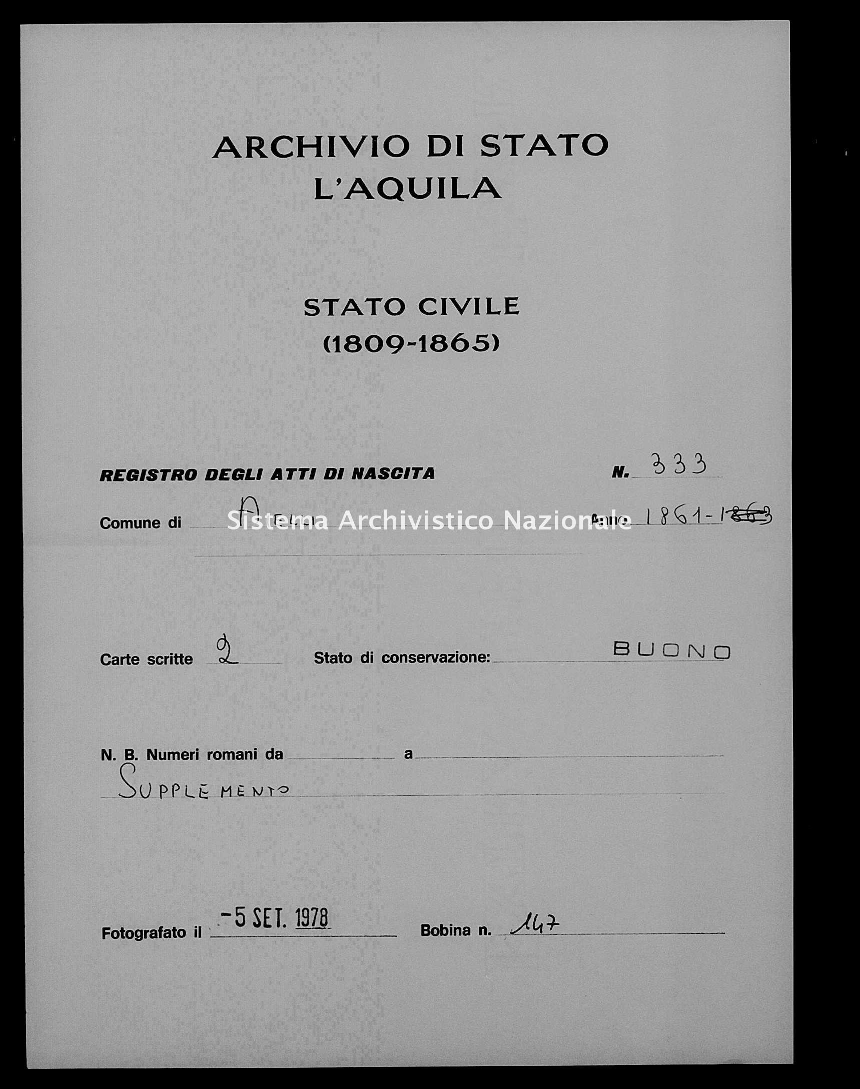 Archivio di stato di L'aquila - Stato civile italiano - Aielli - Nati, esposti - 1861 - 333 -