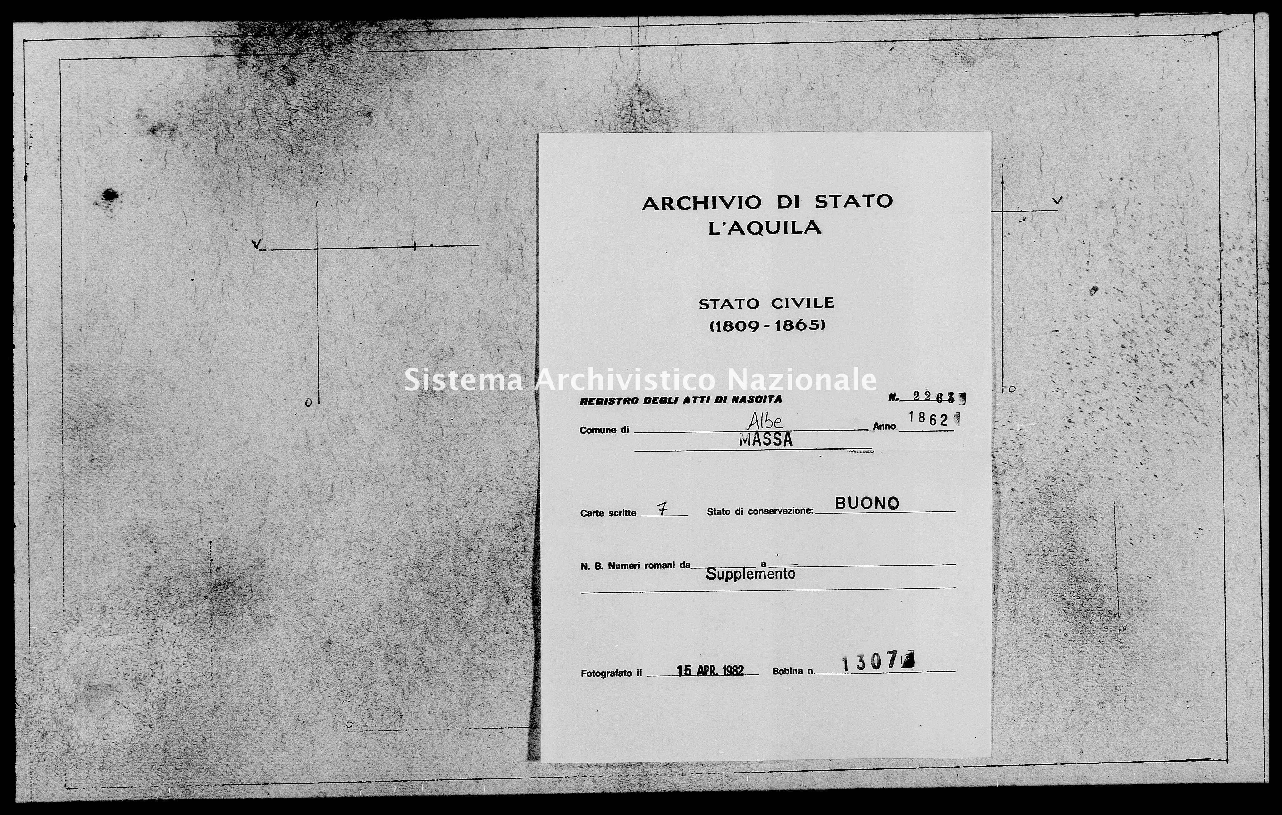Archivio di stato di L'aquila - Stato civile italiano - Albe - Nati, battesimi - 1862 - 2263 -