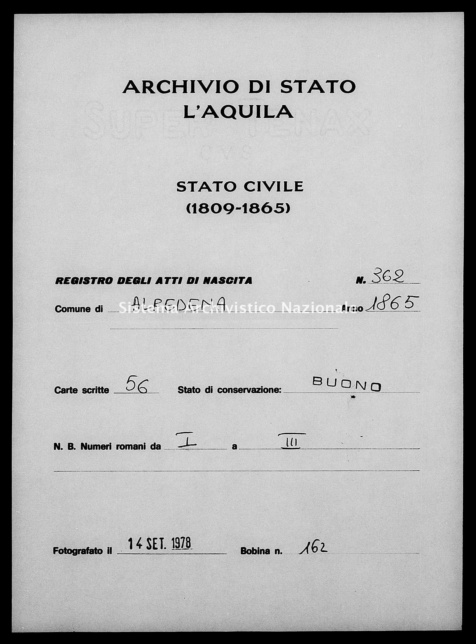 Archivio di stato di L'aquila - Stato civile italiano - Alfedena - Nati - 1865 - 362 -