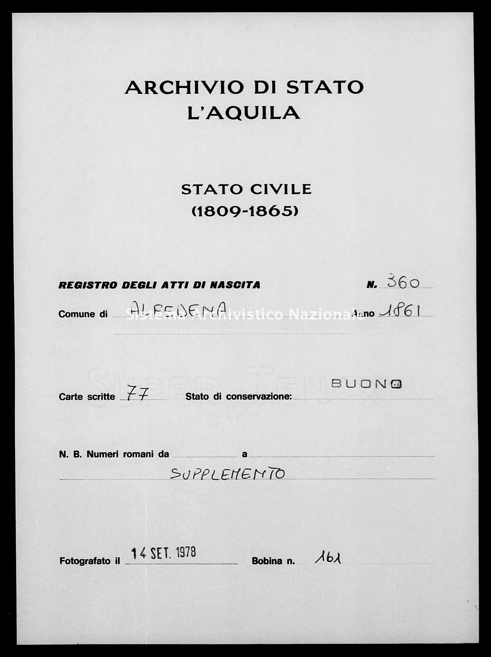 Archivio di stato di L'aquila - Stato civile italiano - Alfedena - Nati, battesimi - 1861 - 360 -