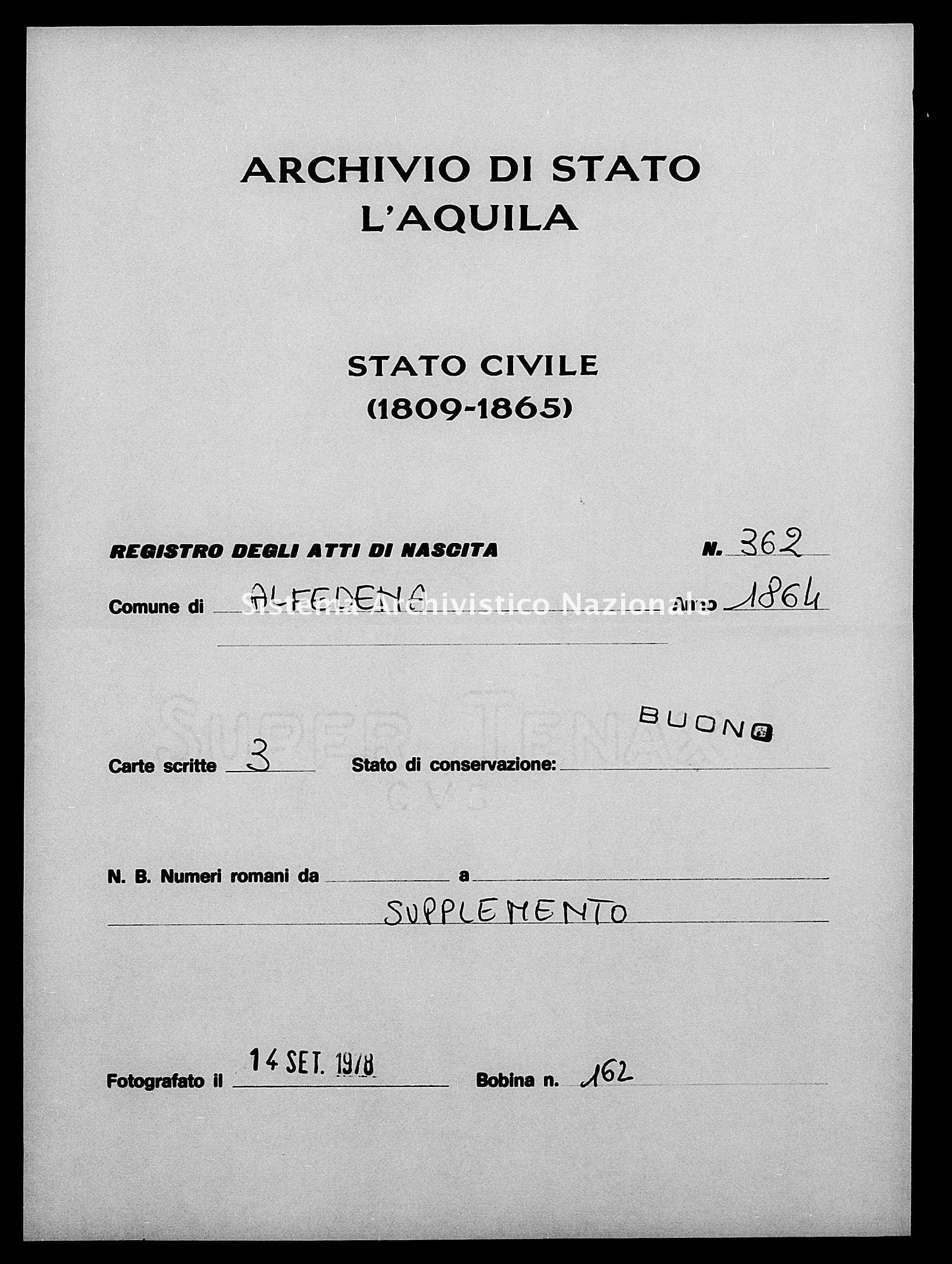 Archivio di stato di L'aquila - Stato civile italiano - Alfedena - Nati, esposti - 1864 - 362 -