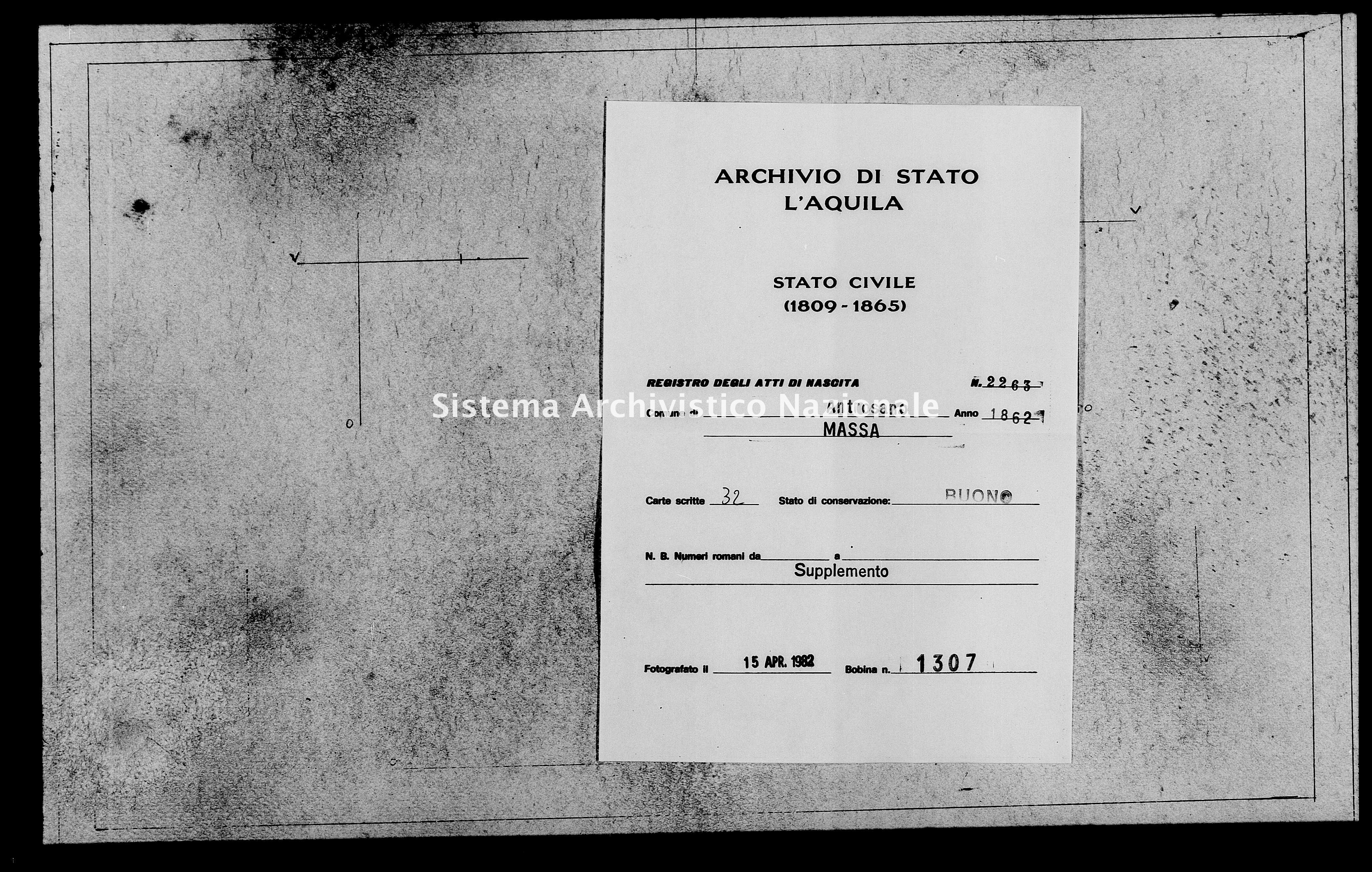 Archivio di stato di L'aquila - Stato civile italiano - Antrosano - Nati, battesimi - 1862 - 2263 -