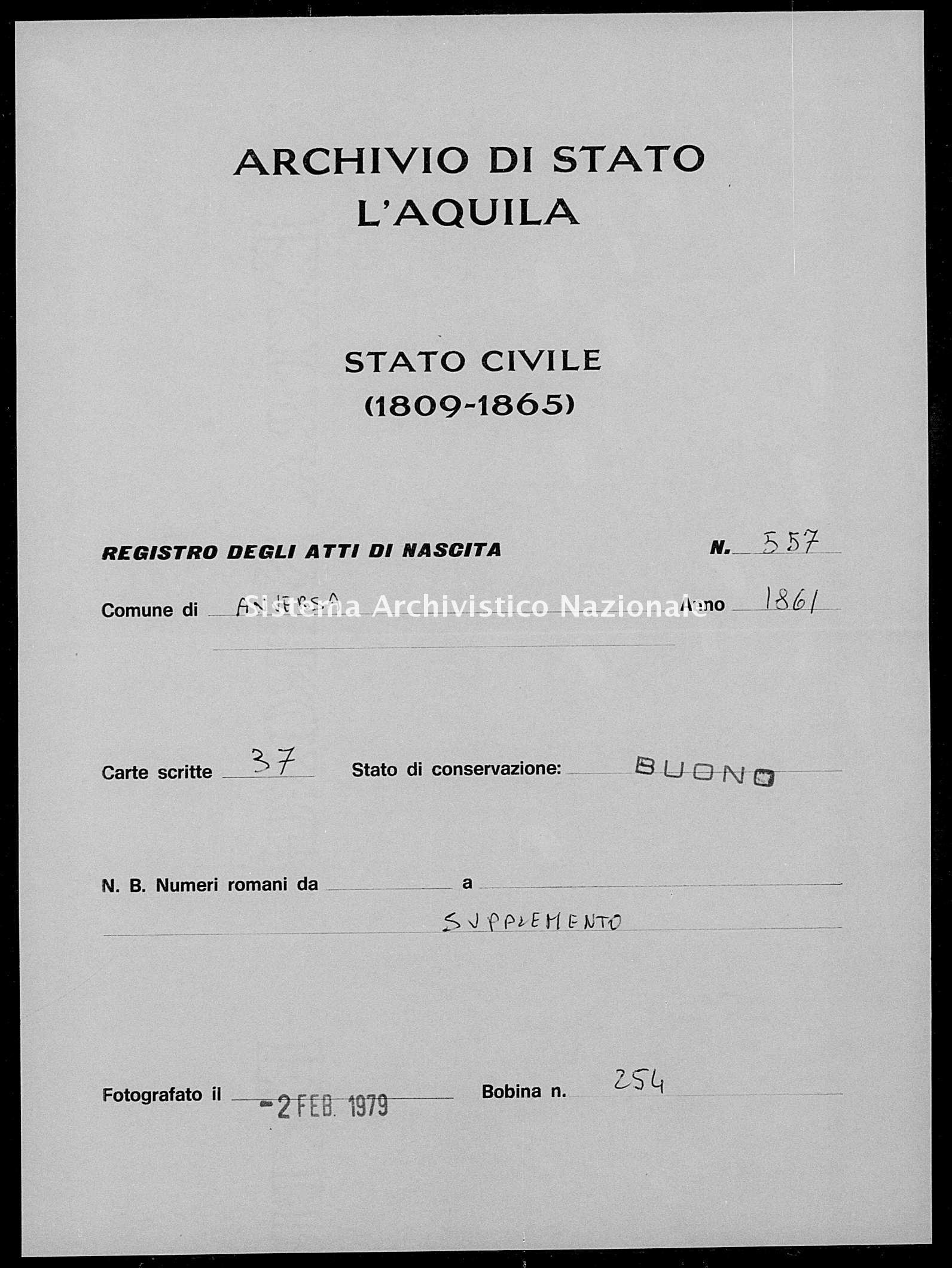 Archivio di stato di L'aquila - Stato civile italiano - Anversa degli Abruzzi - Nati, battesimi - 1861 - 557 -