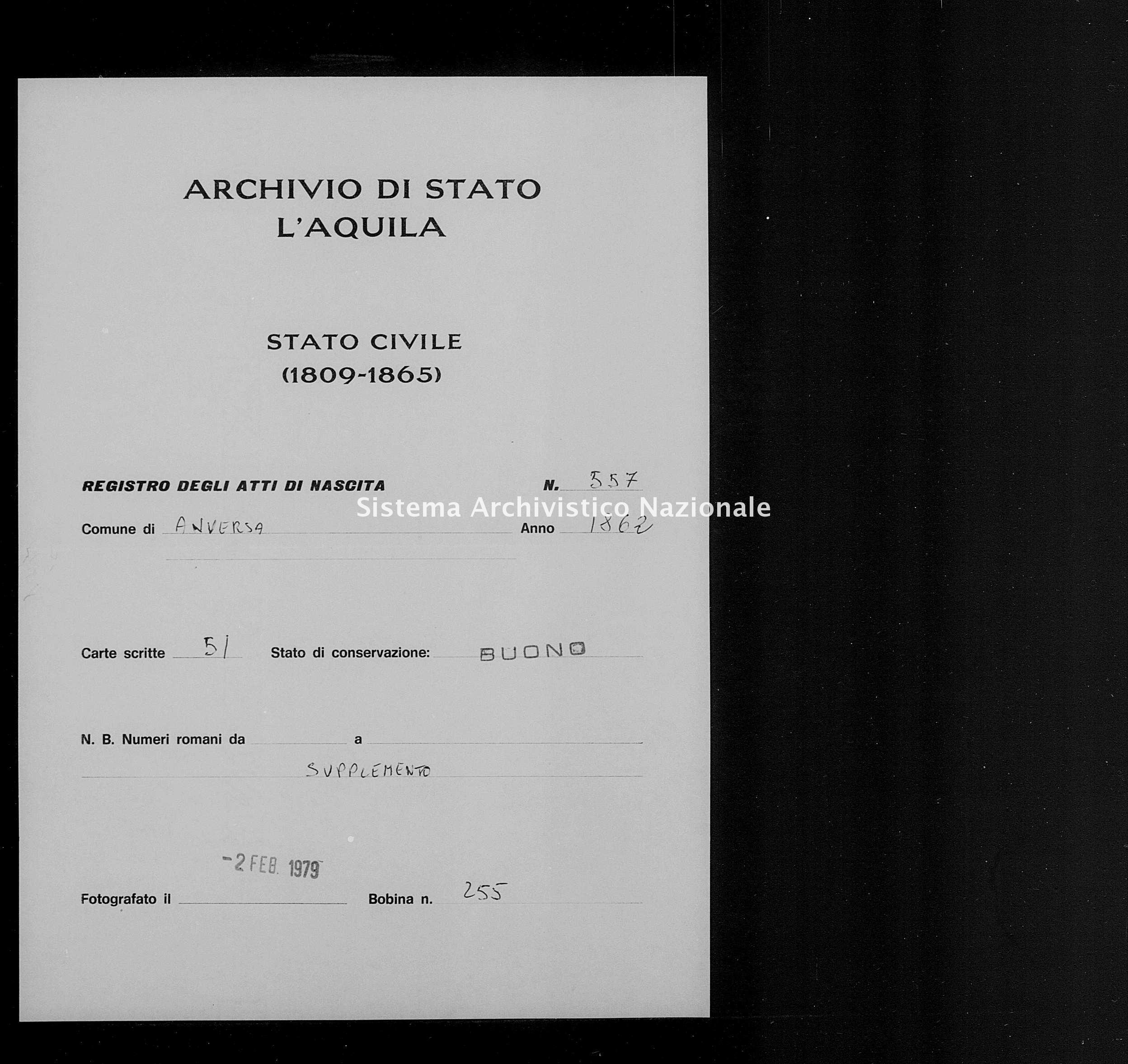 Archivio di stato di L'aquila - Stato civile italiano - Anversa degli Abruzzi - Nati, battesimi - 1862 - 557 -