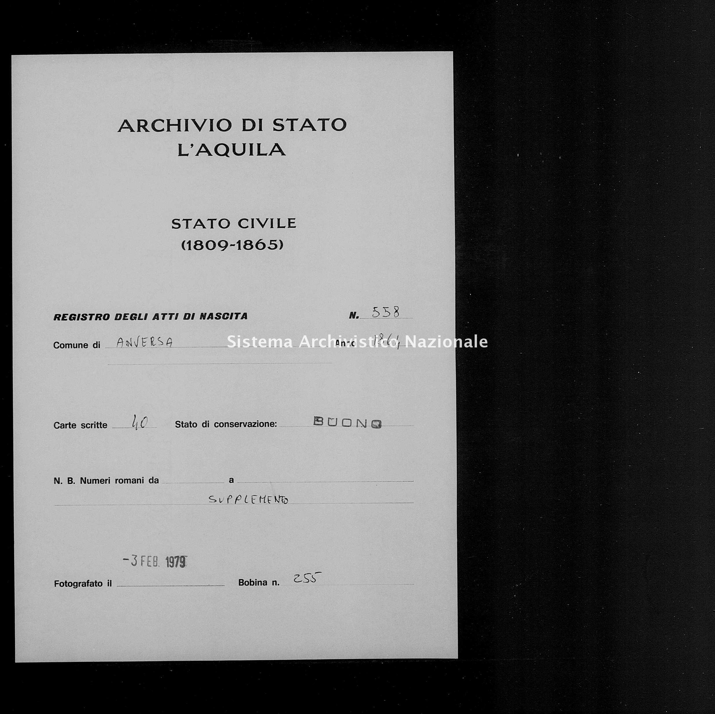 Archivio di stato di L'aquila - Stato civile italiano - Anversa degli Abruzzi - Nati, battesimi - 1864 - 558 -