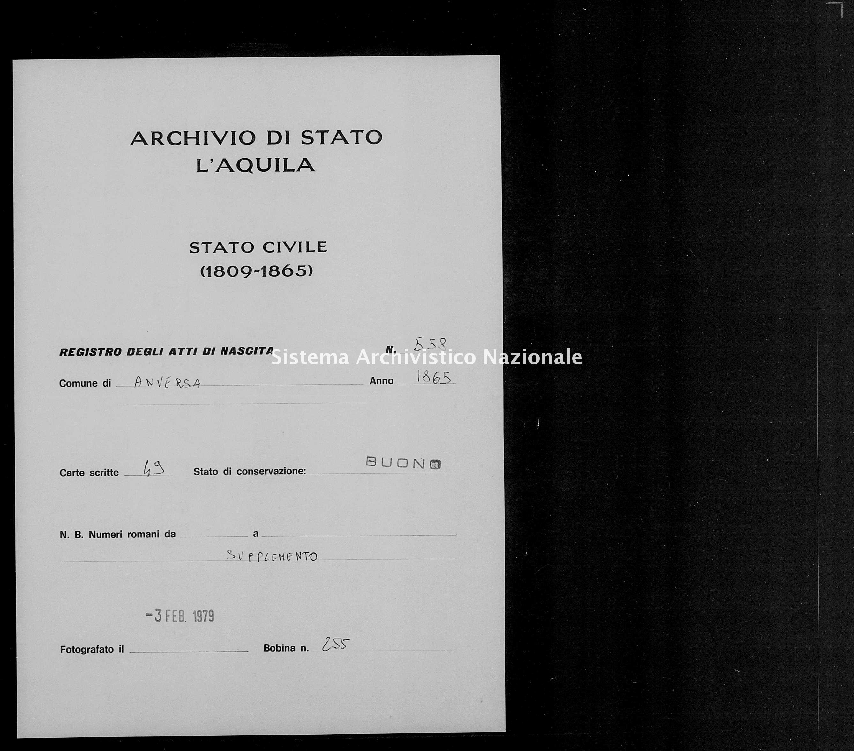 Archivio di stato di L'aquila - Stato civile italiano - Anversa degli Abruzzi - Nati, battesimi - 1865 - 558 -