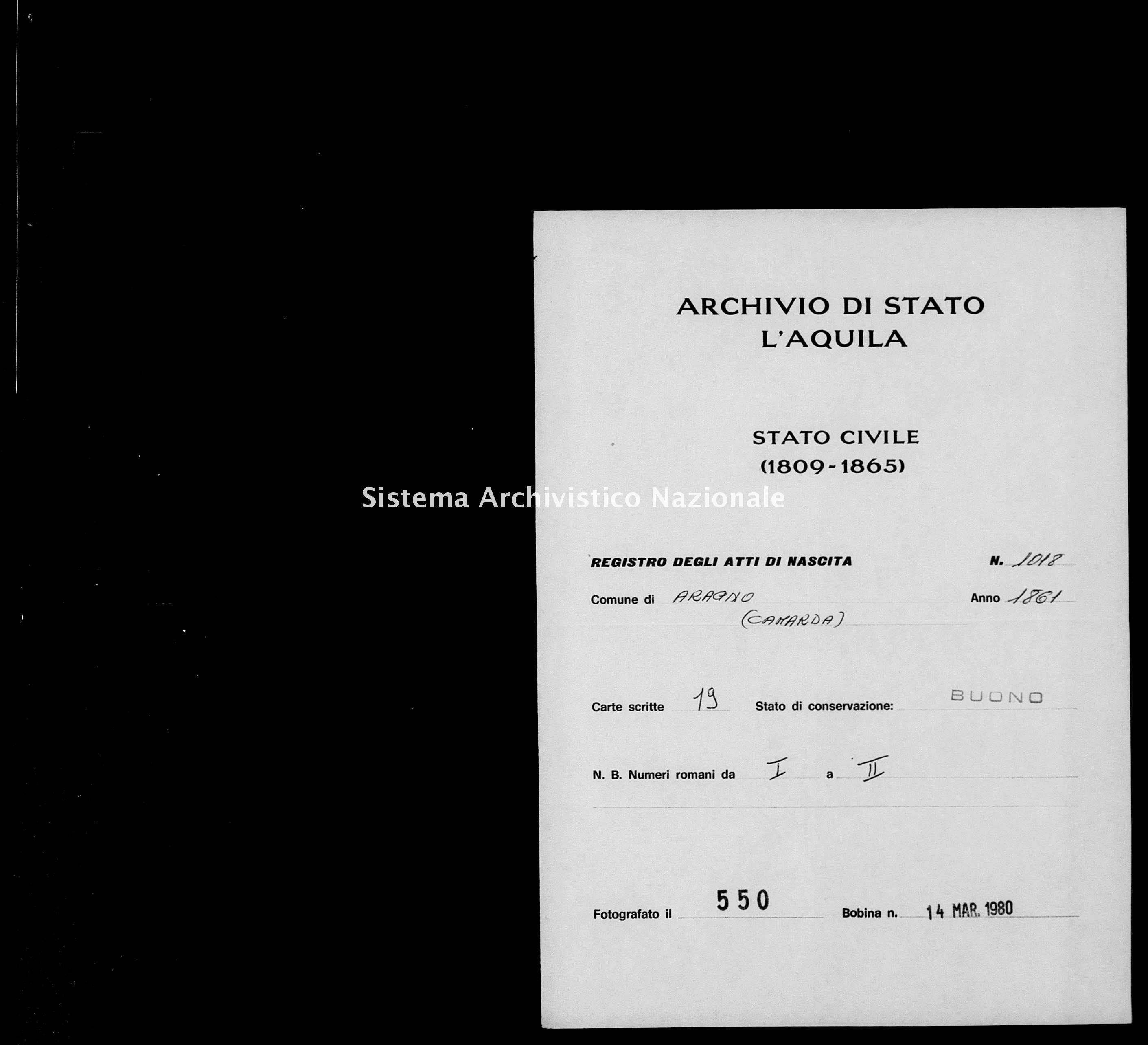 Archivio di stato di L'aquila - Stato civile italiano - Aragno - Nati - 1861 - 1018 -