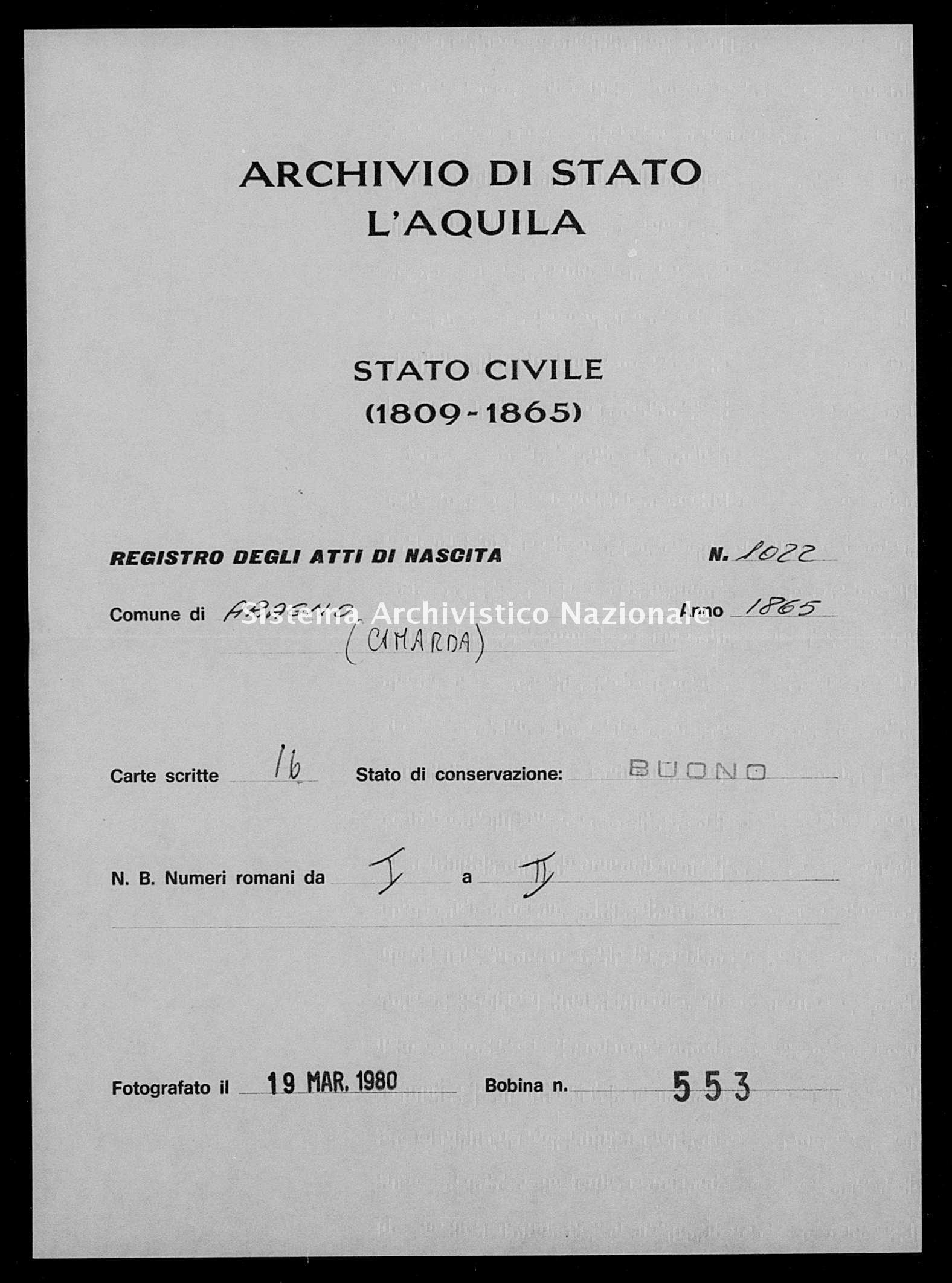 Archivio di stato di L'aquila - Stato civile italiano - Aragno - Nati - 1865 - 1022 -