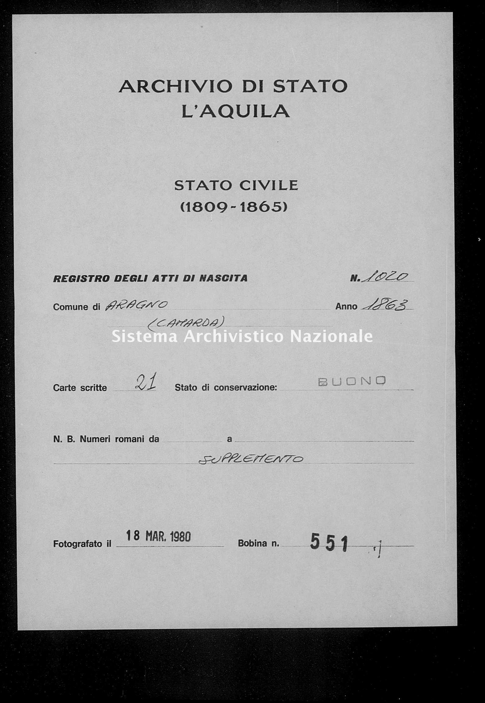Archivio di stato di L'aquila - Stato civile italiano - Aragno - Nati, battesimi - 1863 - 1020 -