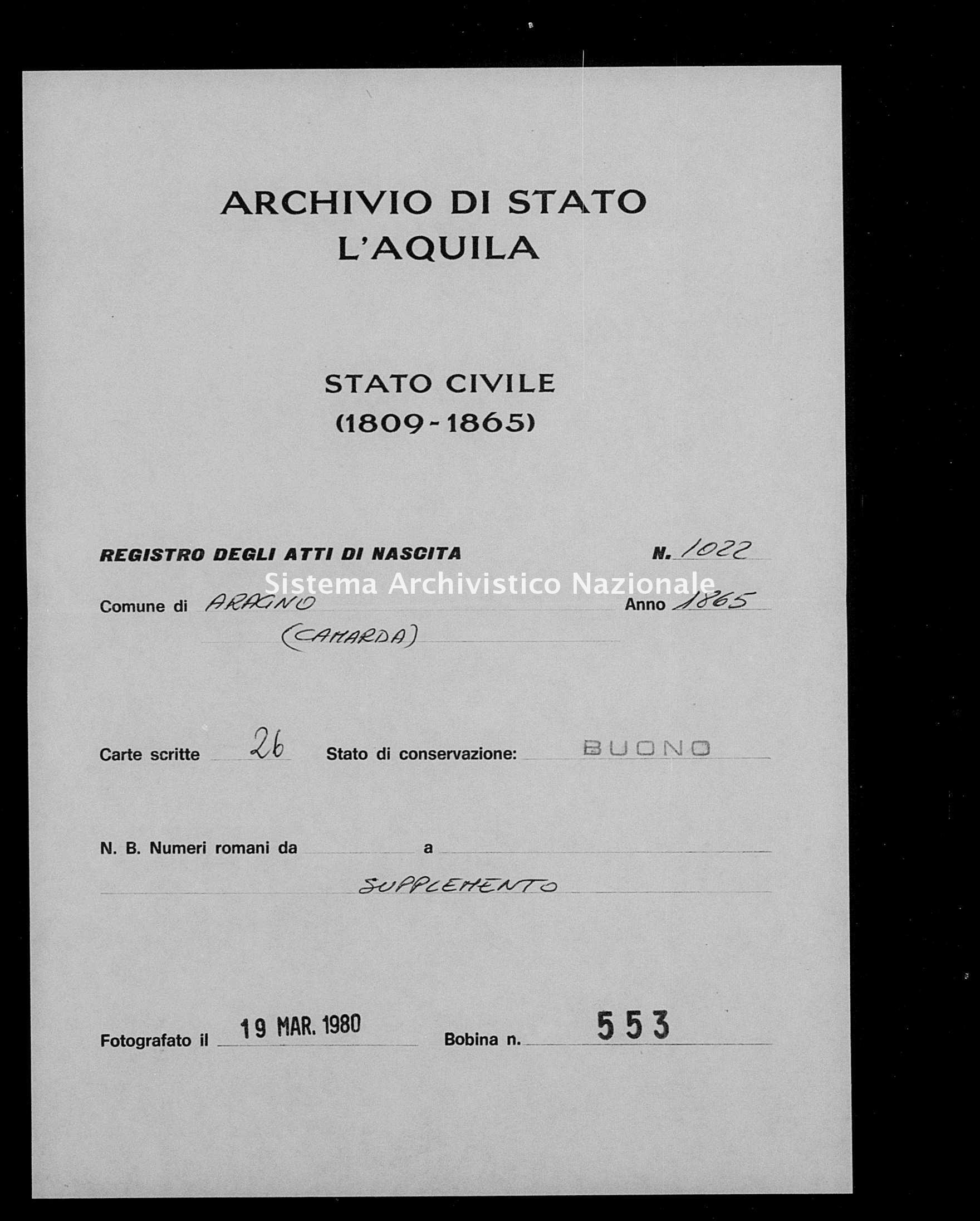 Archivio di stato di L'aquila - Stato civile italiano - Aragno - Nati, battesimi - 1865 - 1022 -