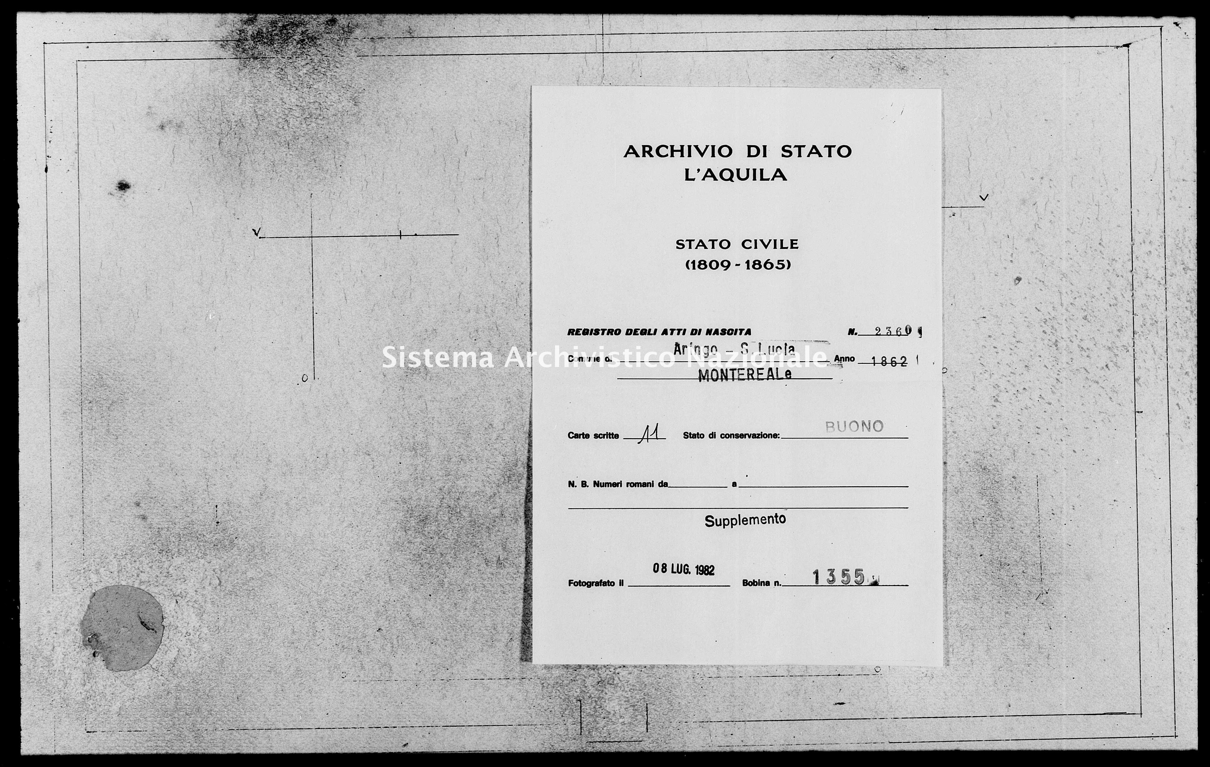 Archivio di stato di L'aquila - Stato civile italiano - Aringo-Santa Lucia - Nati, battesimi - 1862 - 2360 -