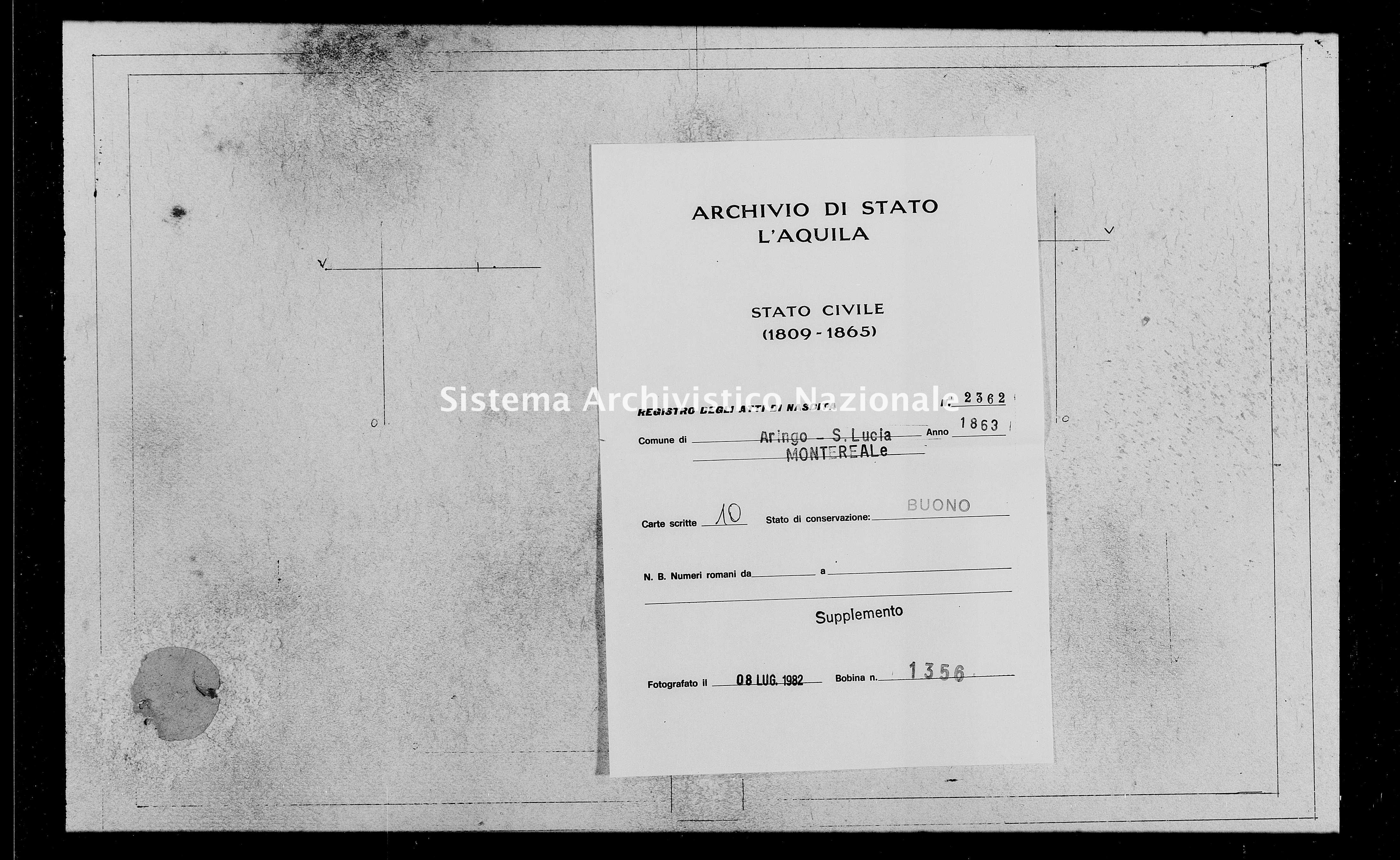 Archivio di stato di L'aquila - Stato civile italiano - Aringo-Santa Lucia - Nati, battesimi - 1863 - 2362 -